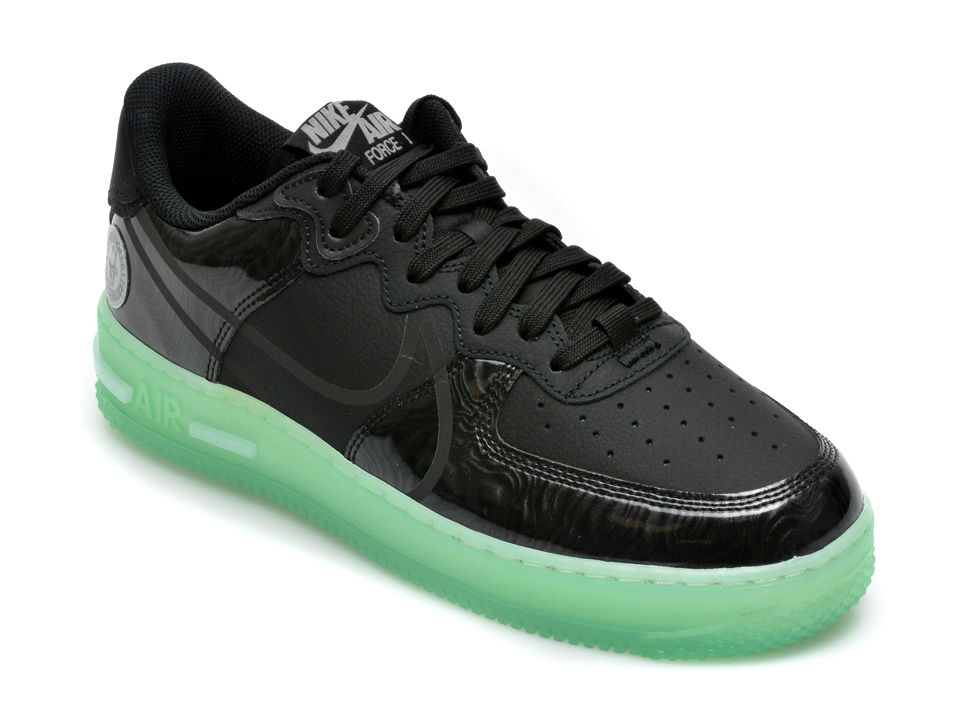 Pantofi sport NIKE negri, Air Force 1 React Lv8, din piele ecologica imagine