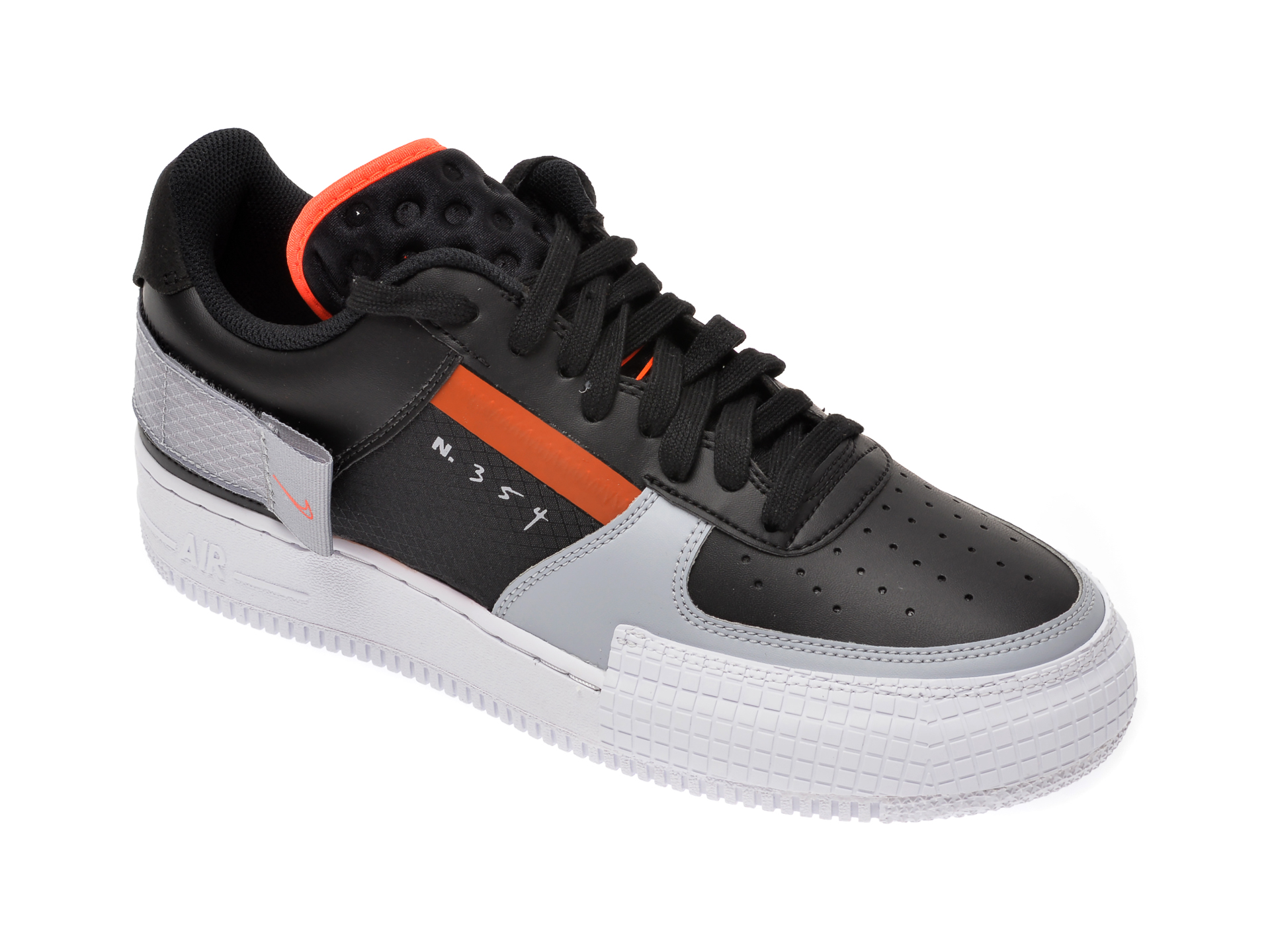 Pantofi sport NIKE negri, Air Force 1 Type, din piele ecologica imagine