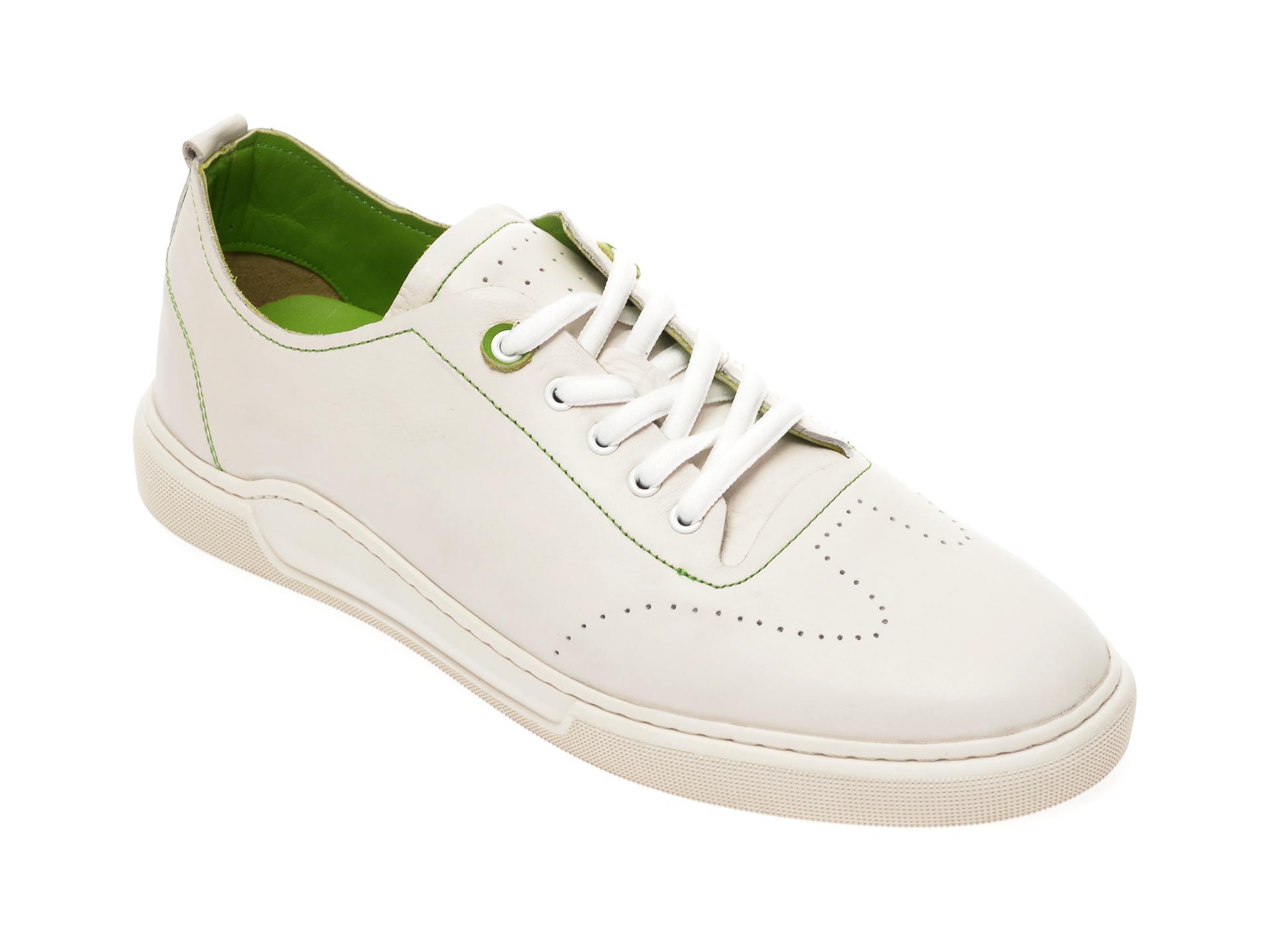 Pantofi sport OTTER albi, 48701, din piele naturala imagine