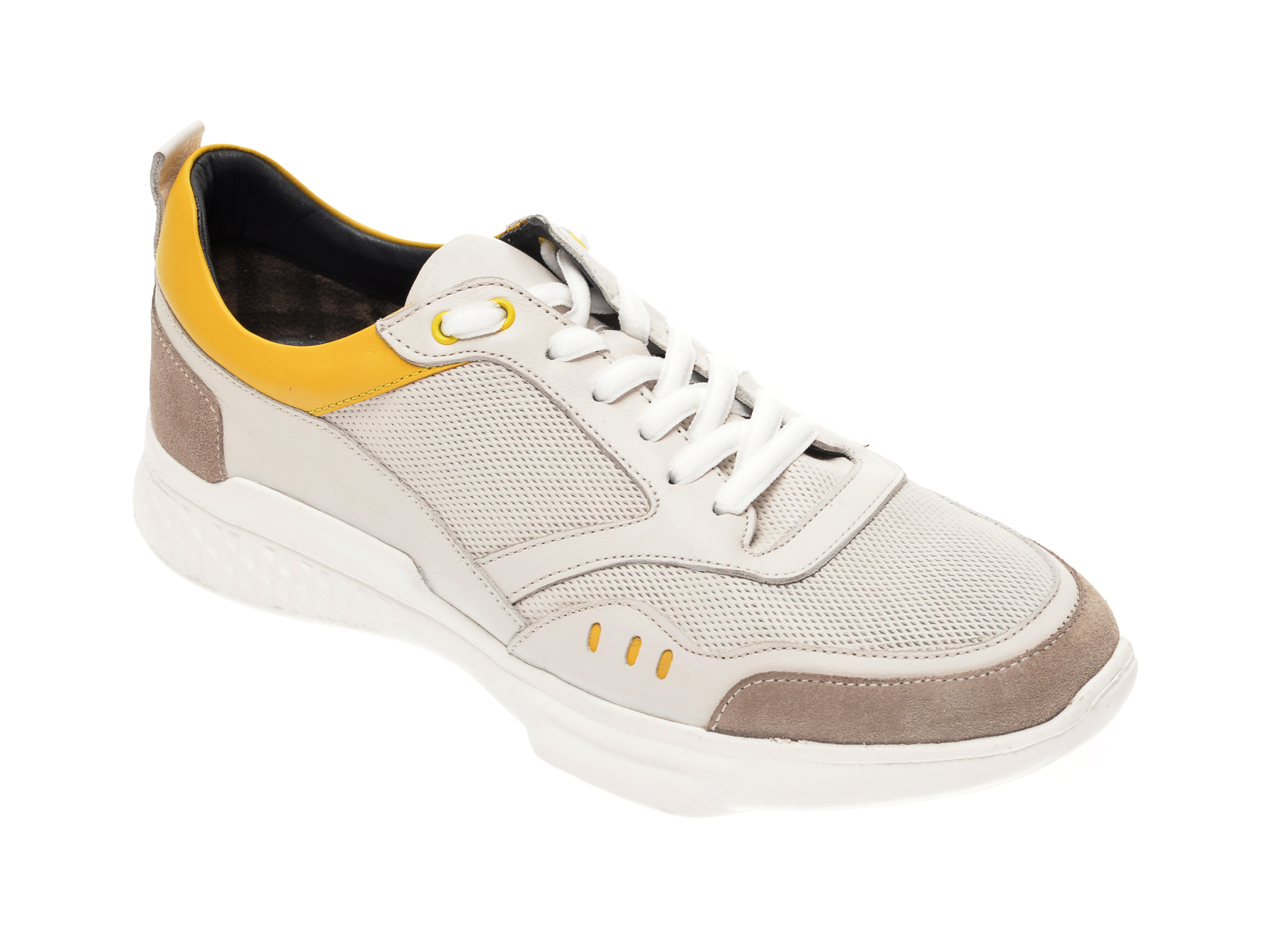 Pantofi sport OTTER albi, 70402, din material textil si piele naturala New