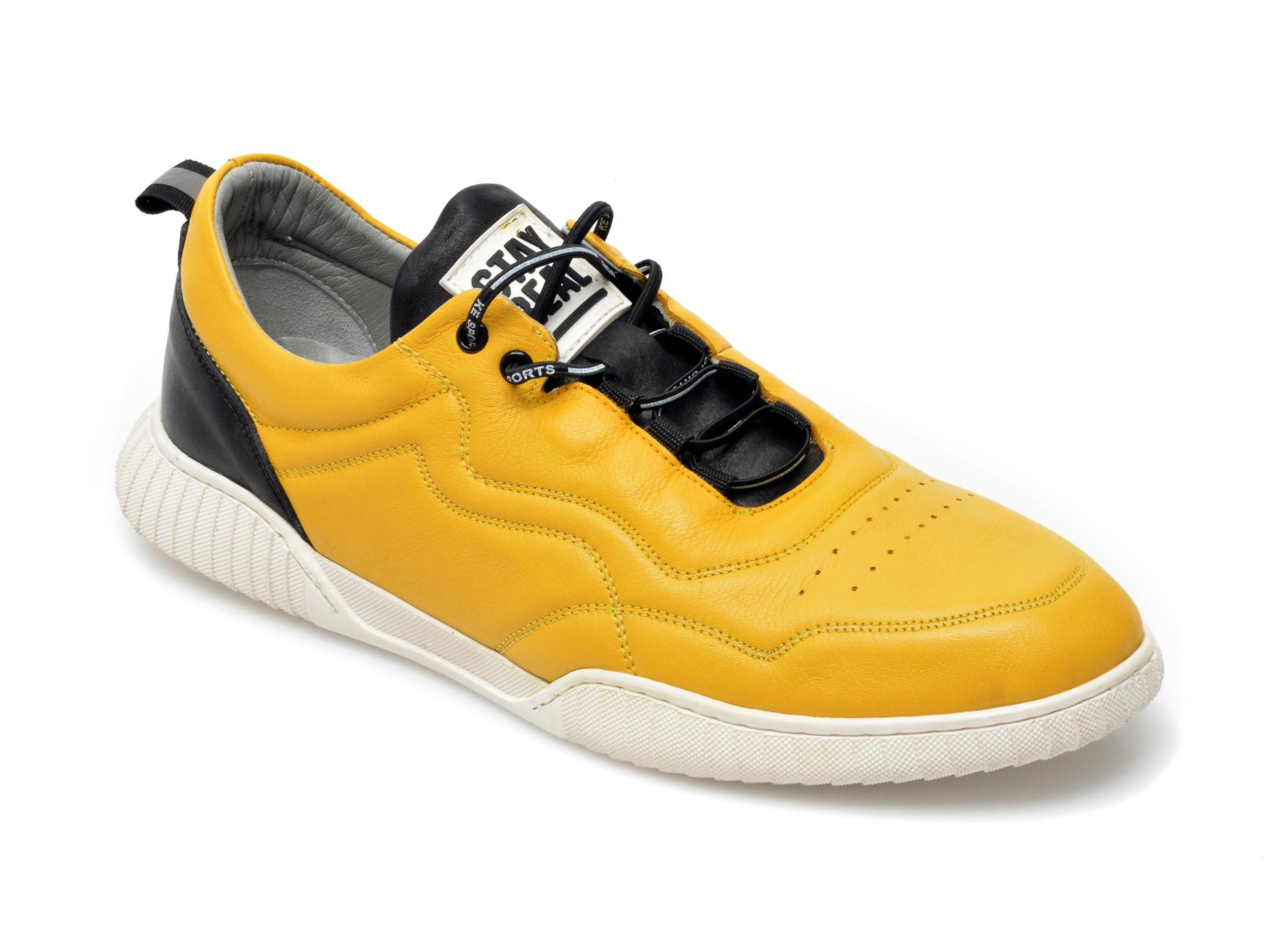 Pantofi sport OTTER galbeni, 24204, din piele naturala imagine