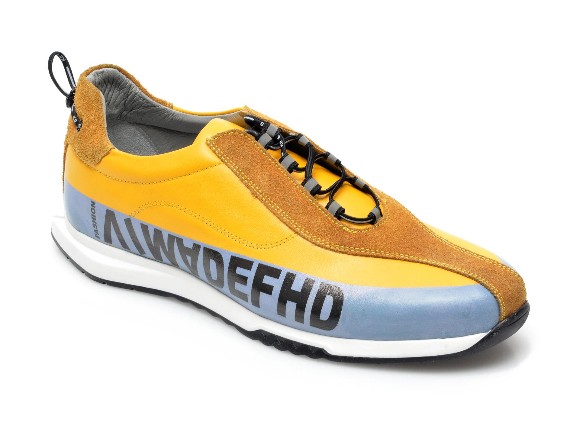 Pantofi sport OTTER galbeni, 26703, din piele naturala imagine
