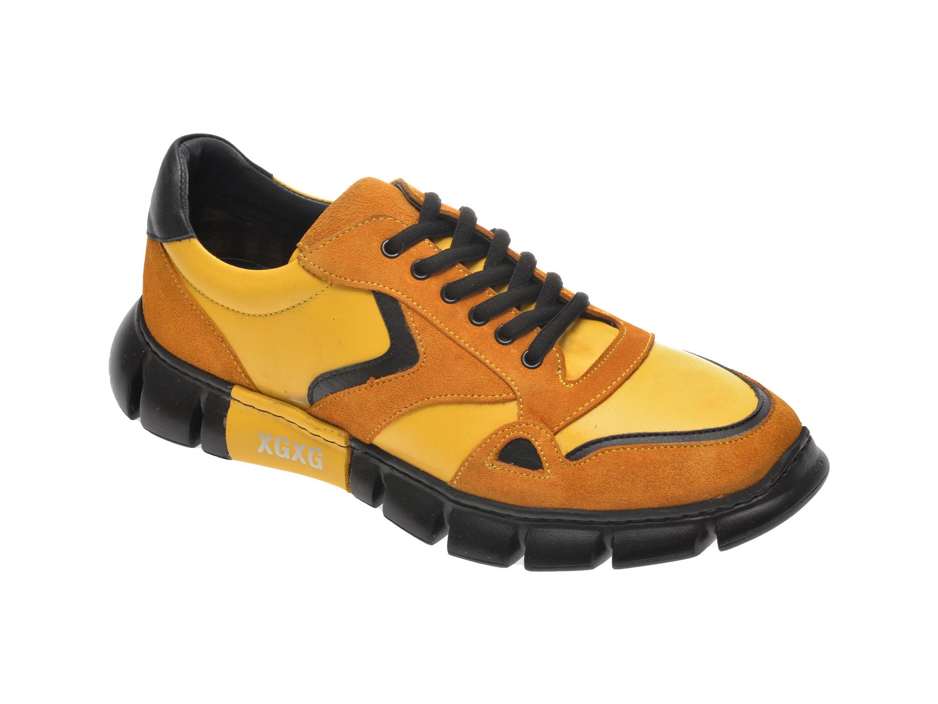 Pantofi sport OTTER galbeni, 40102, din piele naturala imagine