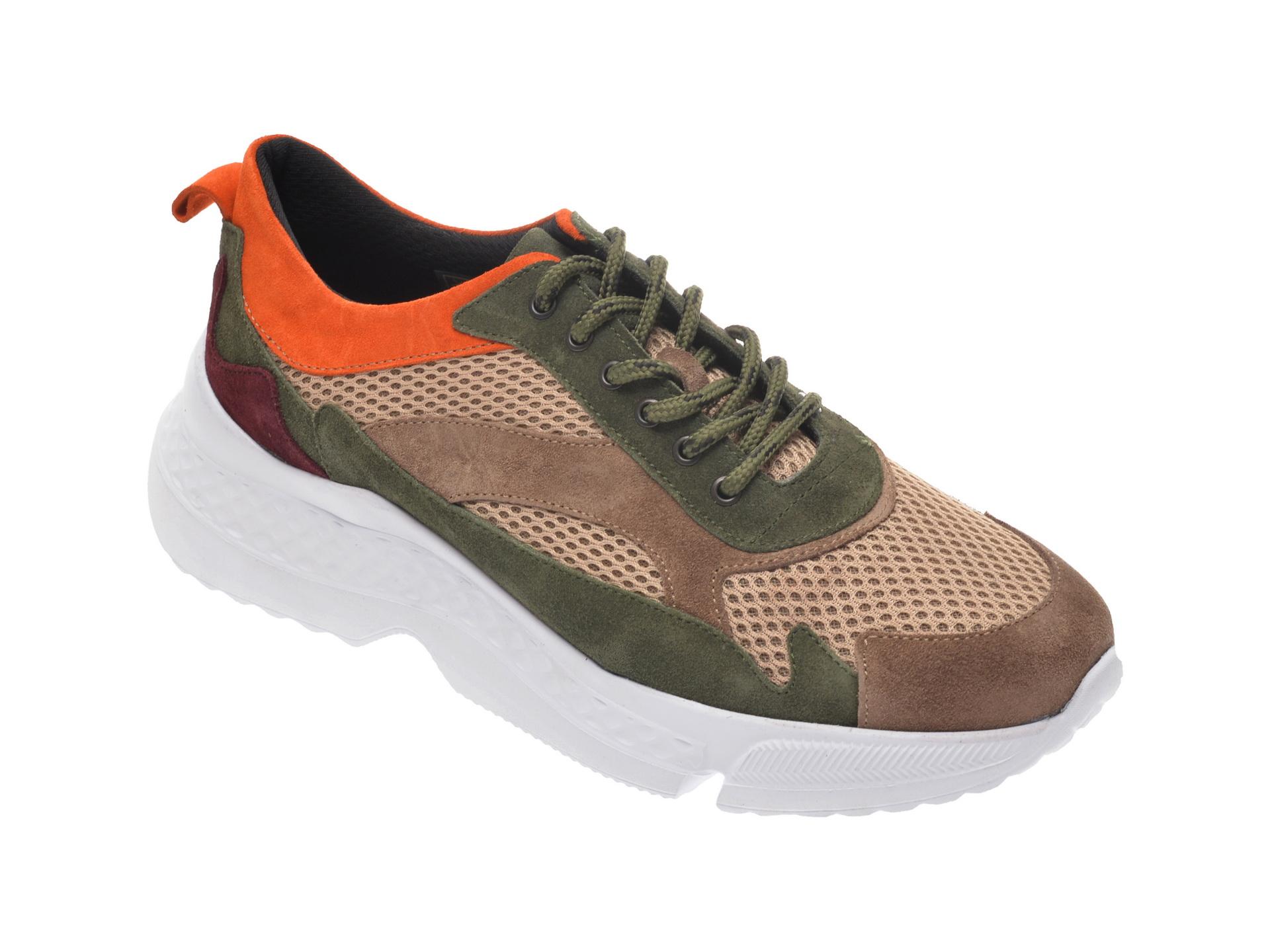 Pantofi sport OTTER maro, 131, din material textil si piele naturala imagine