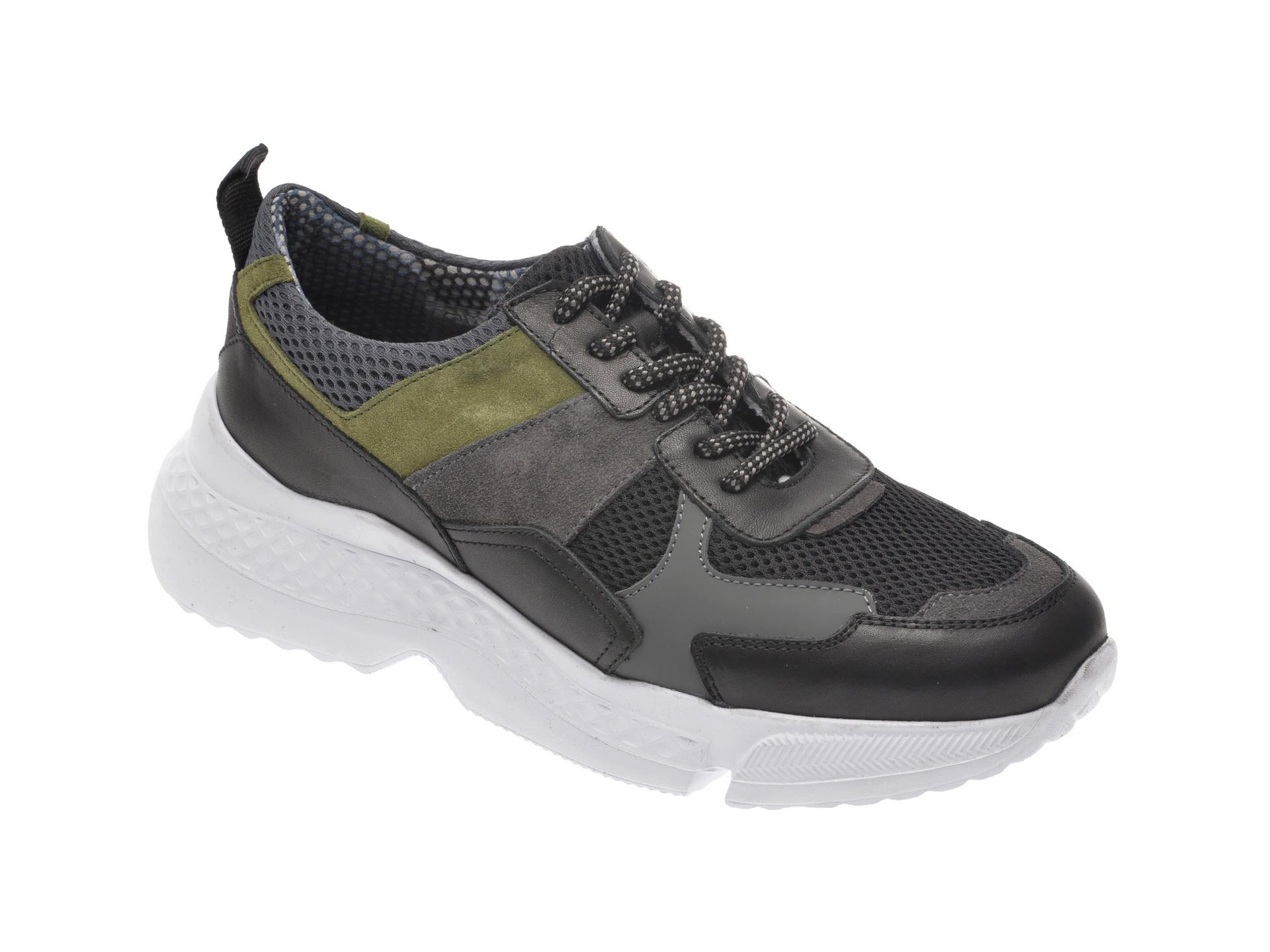 Pantofi Sport Otter Negri, 105, Din Material Textil Si Piele Naturala