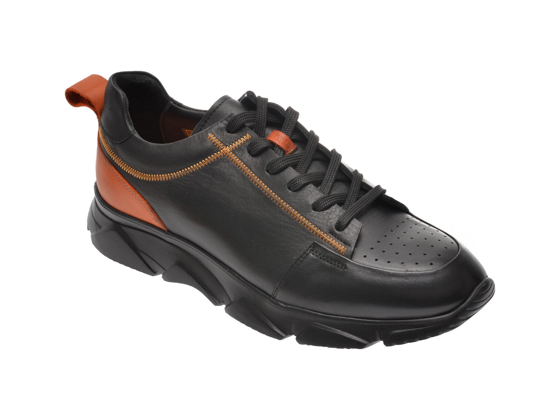 Pantofi sport OTTER negri, 137, din piele naturala imagine