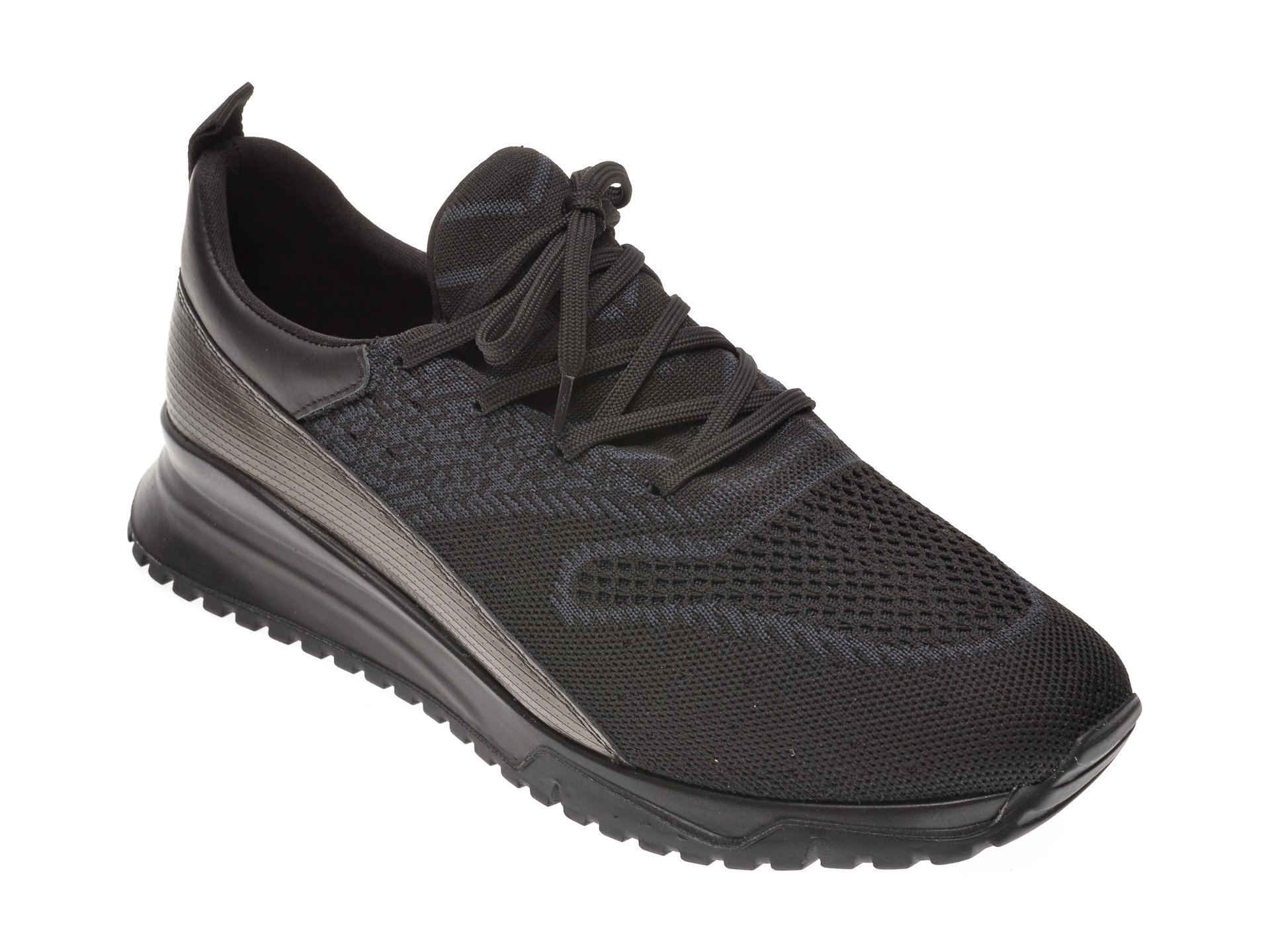 Pantofi sport OTTER negri, 25013, din material textil si piele naturala imagine