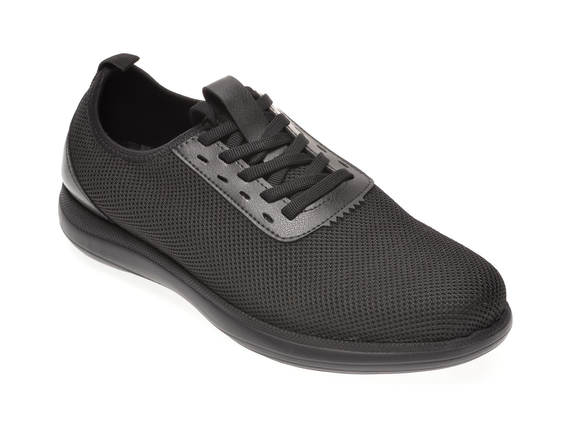 Pantofi sport OTTER negri, 30109, din material textil si piele naturala imagine