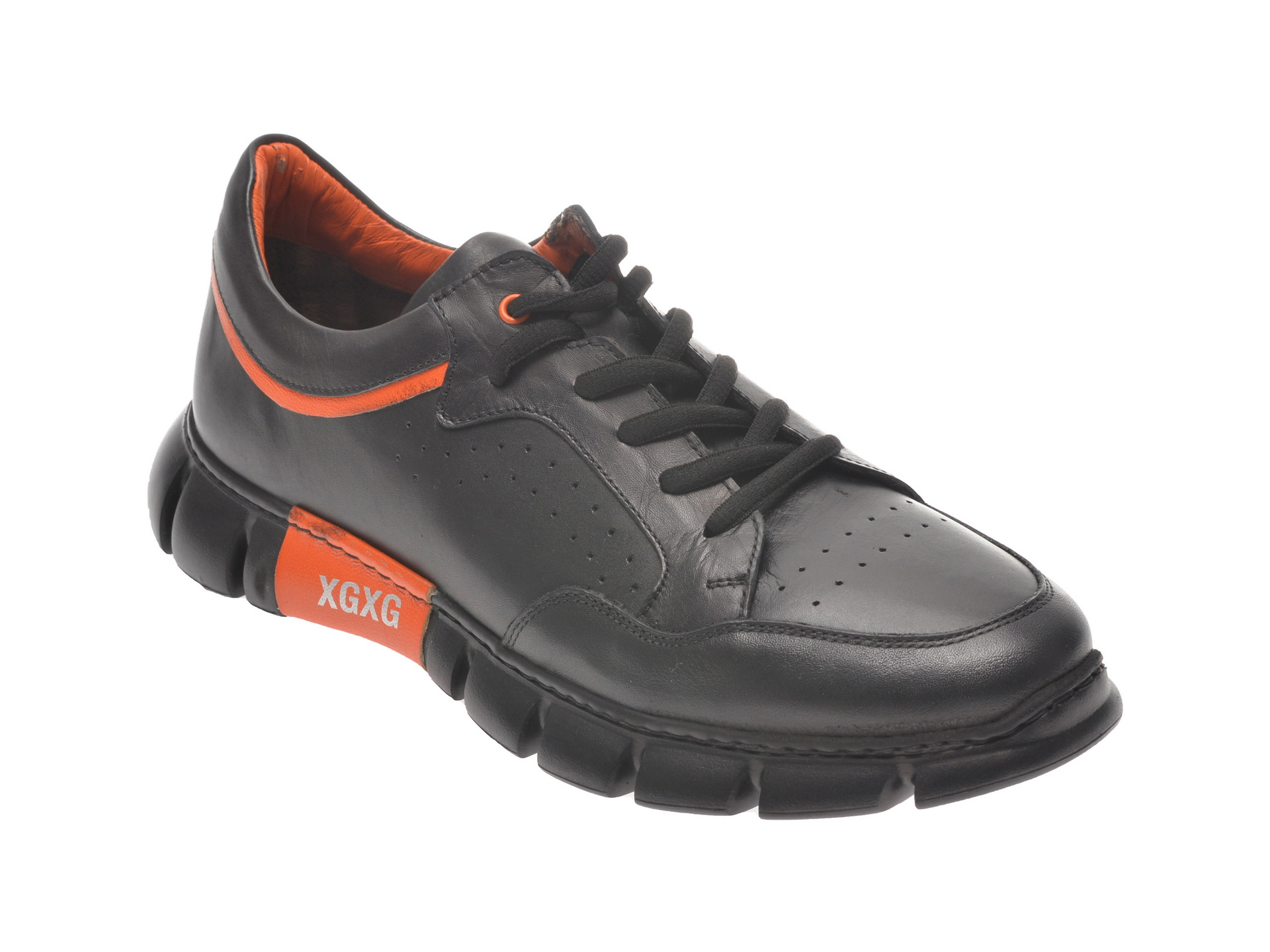 Pantofi sport OTTER negri, 40101, din piele naturala imagine