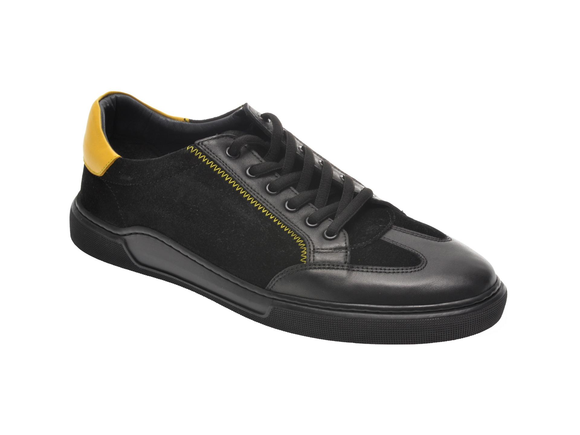 Pantofi Sport Otter Negri, 48702, Din Piele Naturala