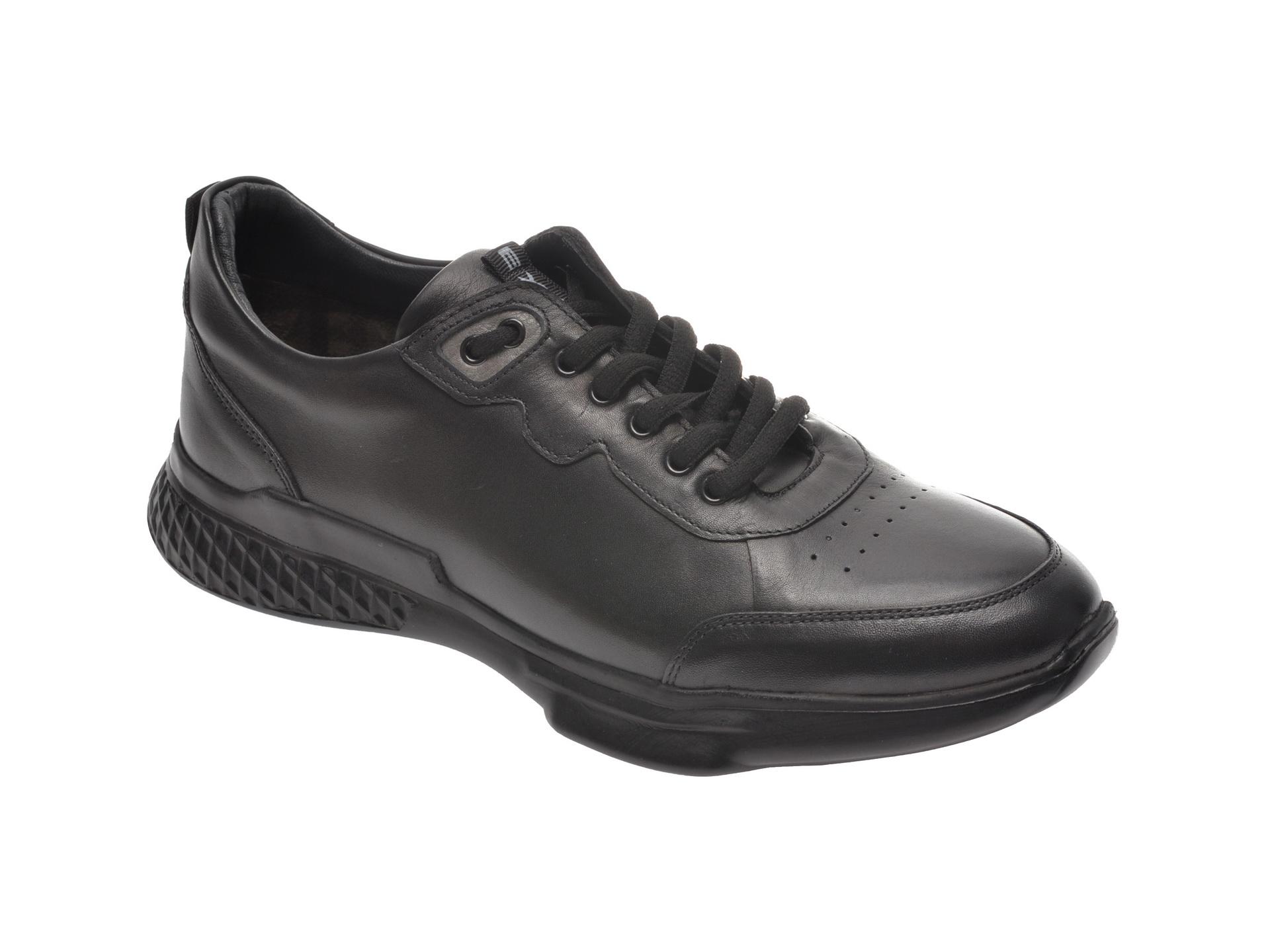 Pantofi Sport Otter Negri, 70401, Din Piele Naturala