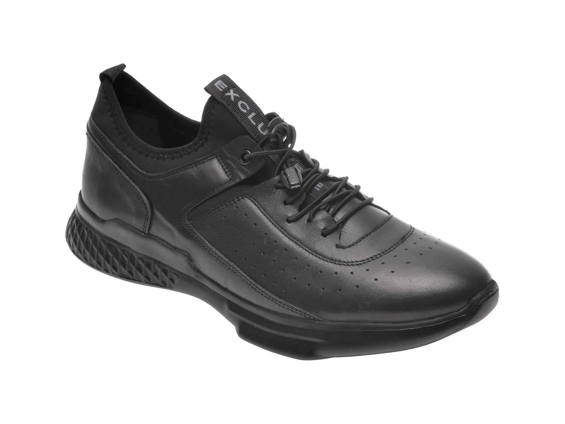 Pantofi sport OTTER negri, 70403, din piele naturala imagine