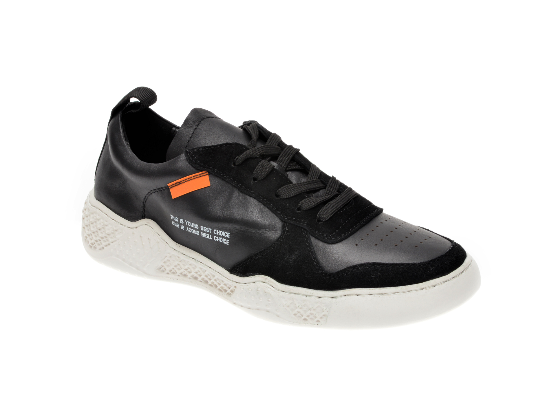 Pantofi sport OTTER negri, 7D91931, din piele naturala imagine