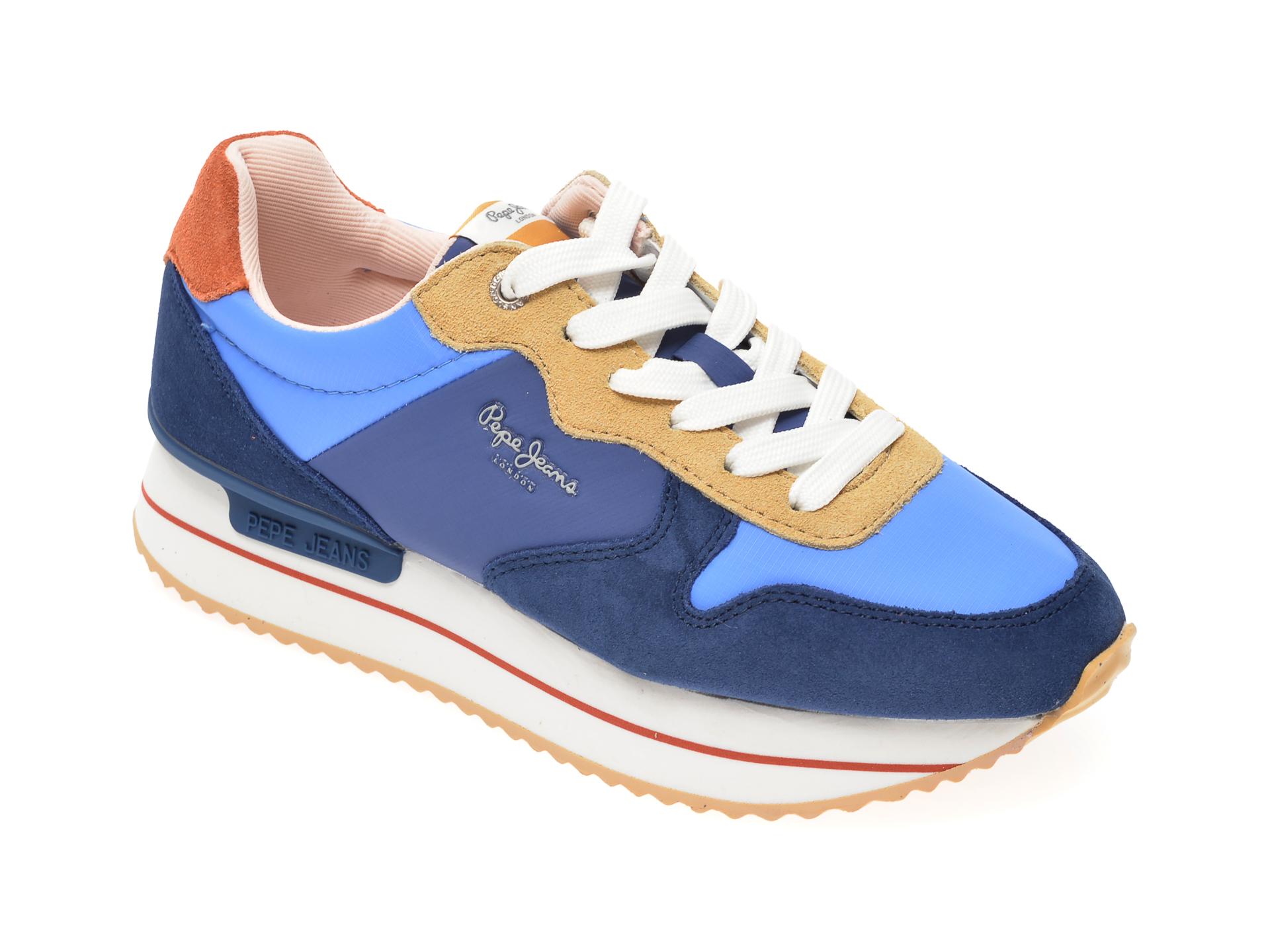 Pantofi sport PEPE JEANS albastri, LS30991, din material textil si piele intoarsa