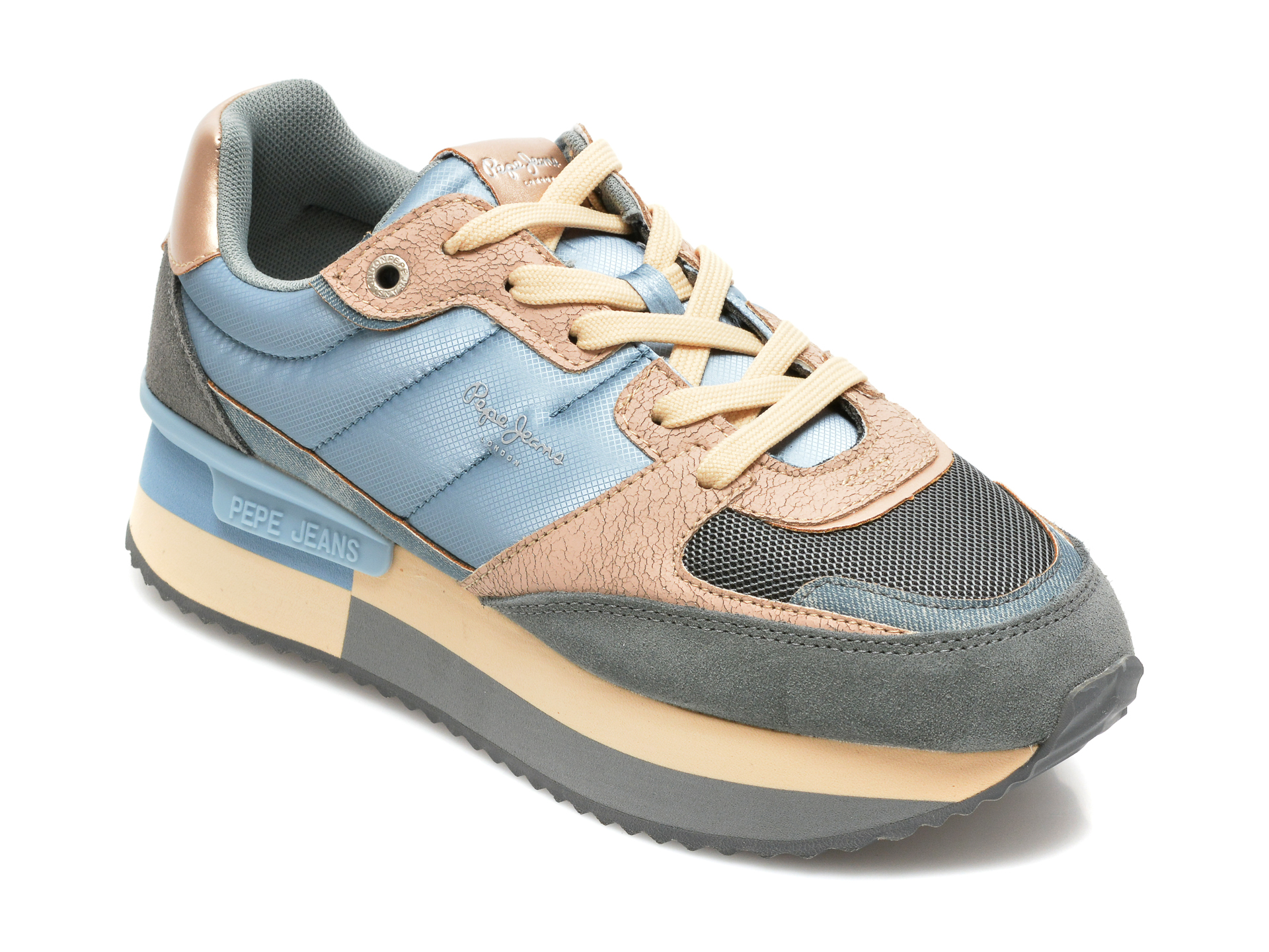 Pantofi sport PEPE JEANS albastri, LS31259, din material textil si piele naturala