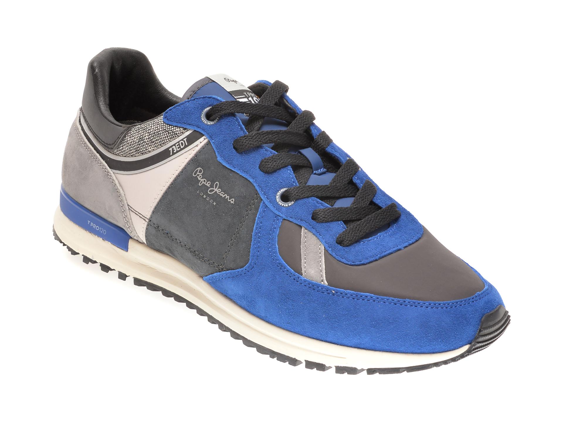 Pantofi sport PEPE JEANS albastri, MS30657, din material textil si piele intoarsa