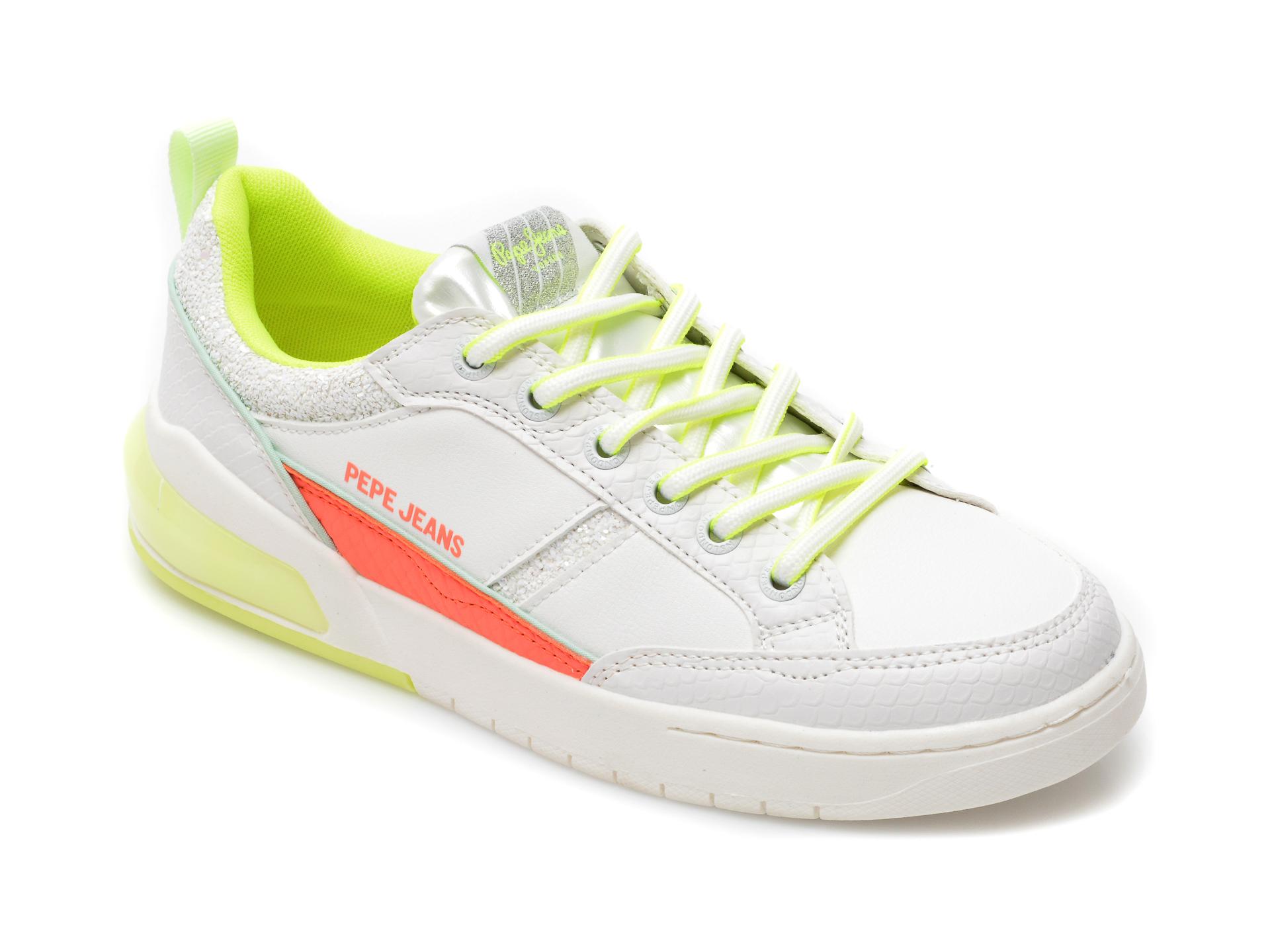 Pantofi sport PEPE JEANS albi, 3118499, din piele ecologica imagine 2021 otter.ro
