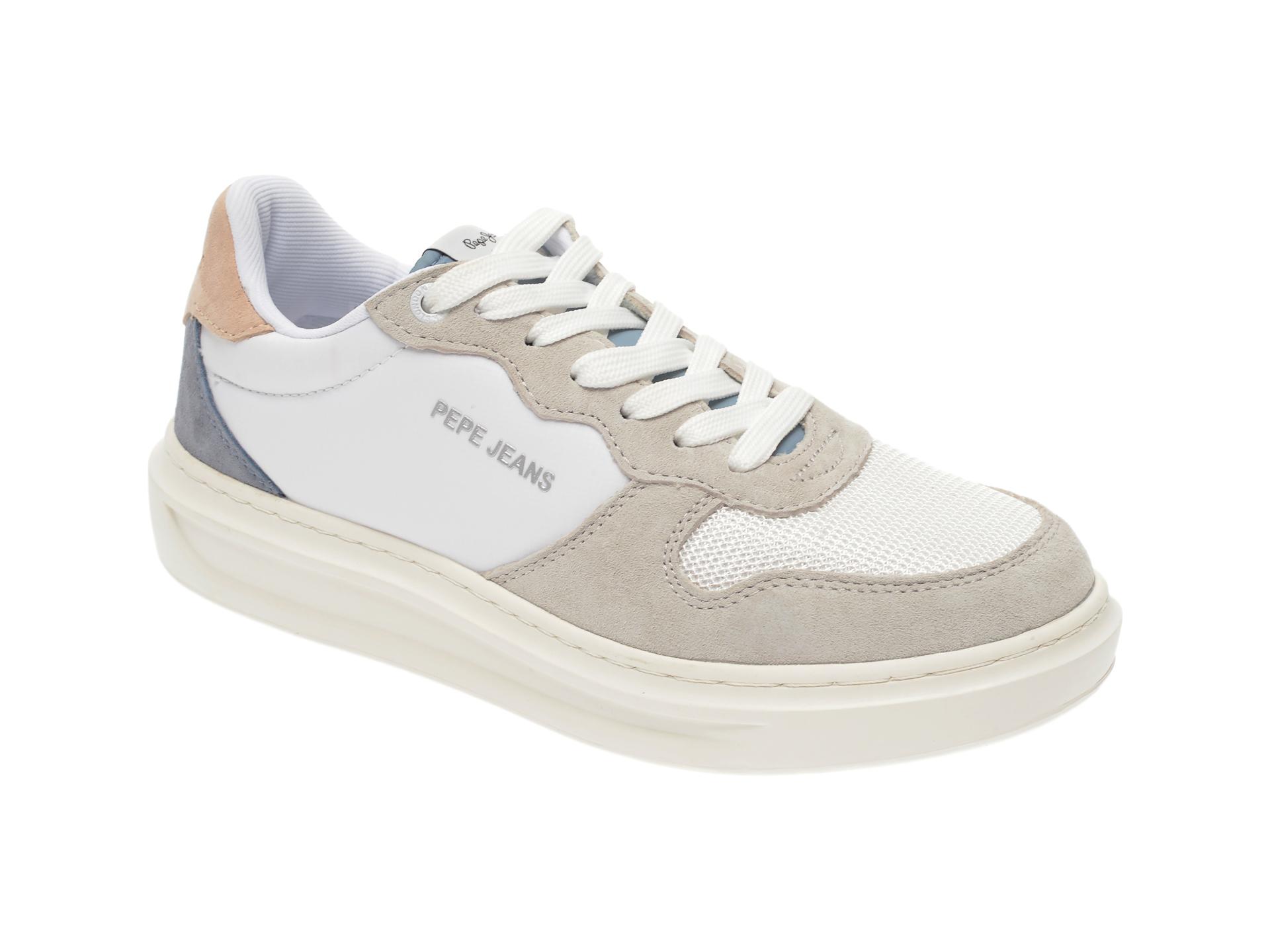 Pantofi sport PEPE JEANS albi, LS30962, din material textil si piele intoarsa imagine