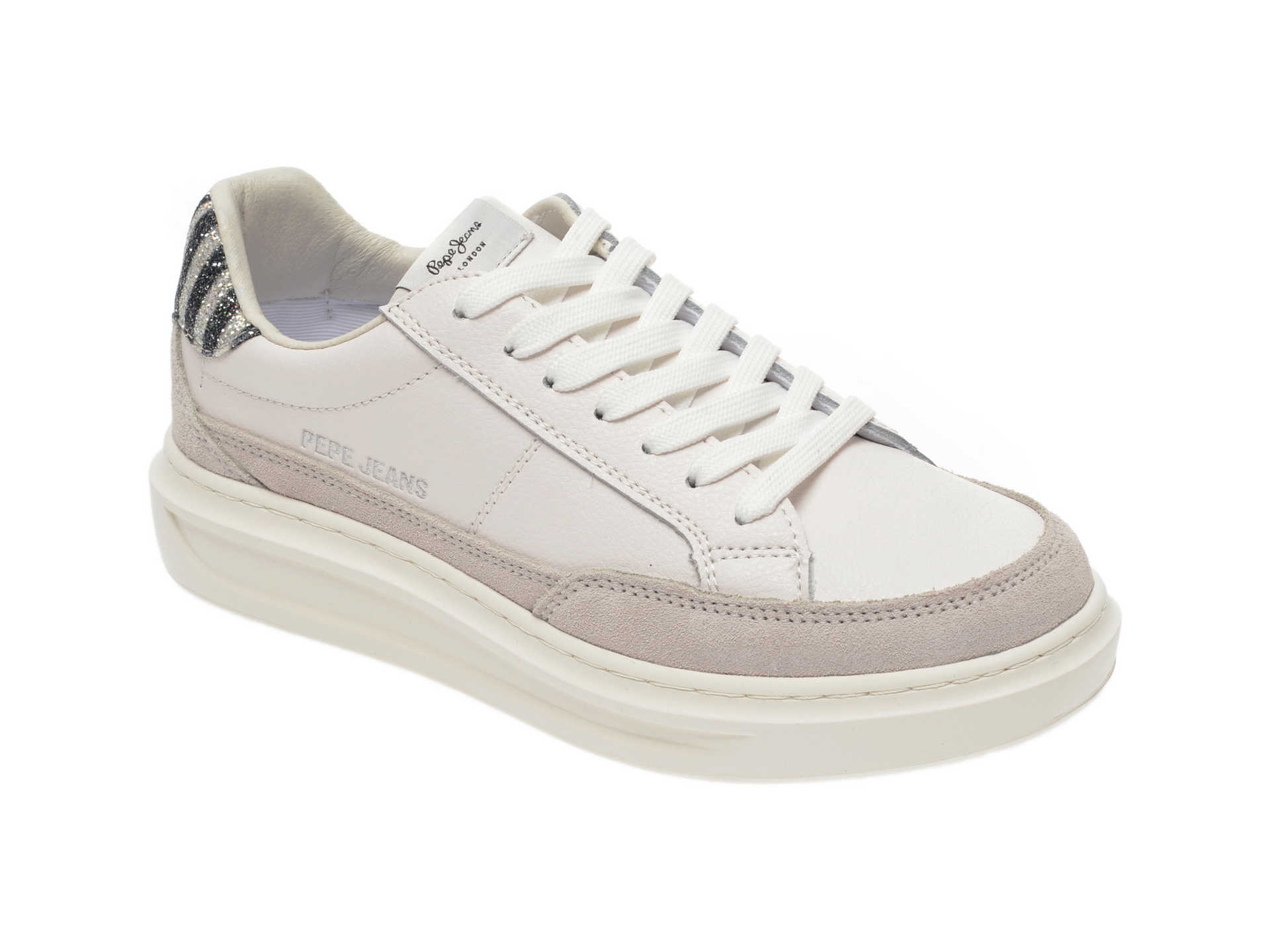 Pantofi sport PEPE JEANS albi, LS30964, din piele naturala New