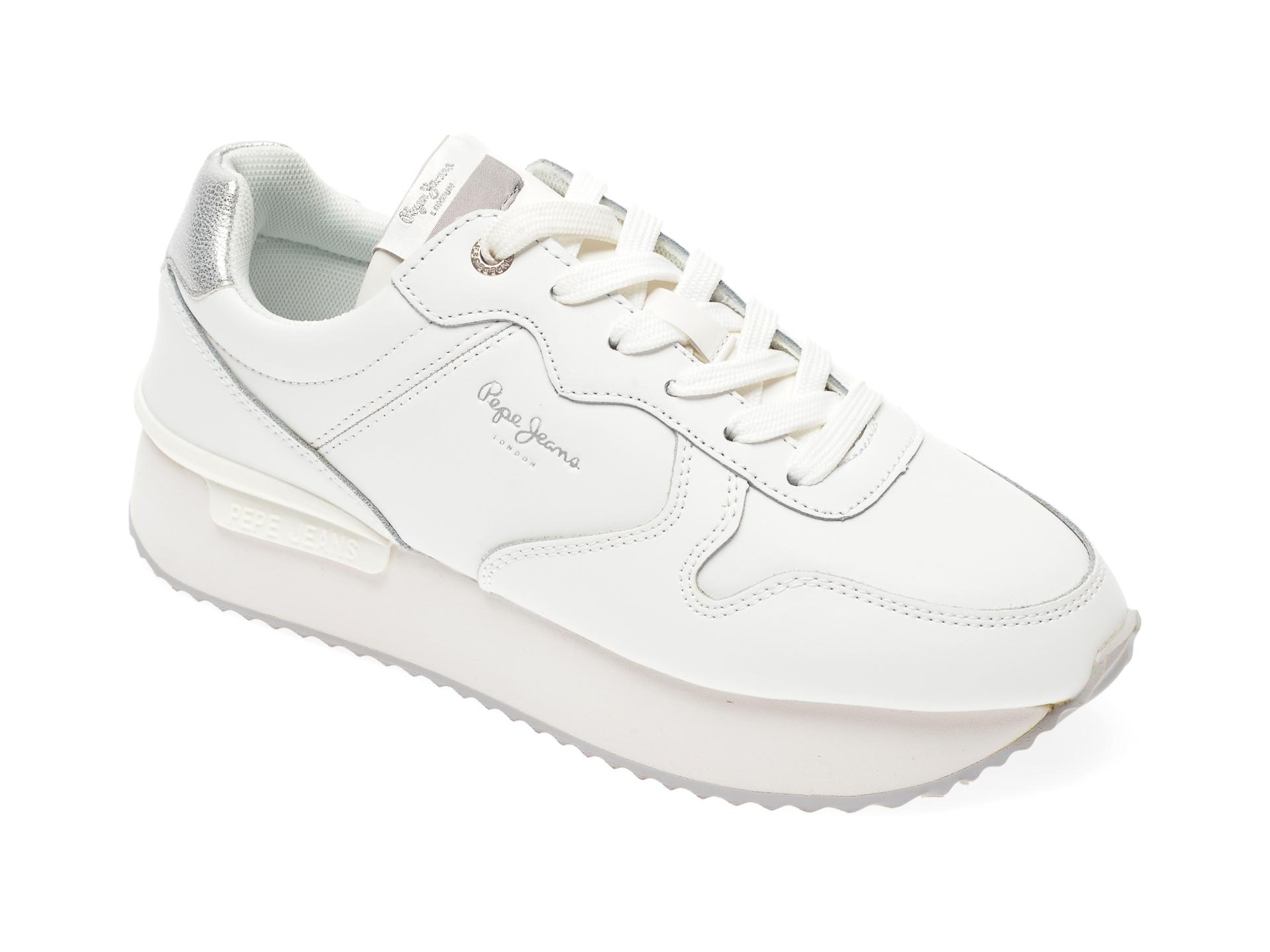 Pantofi sport PEPE JEANS albi, LS30995, din piele naturala imagine