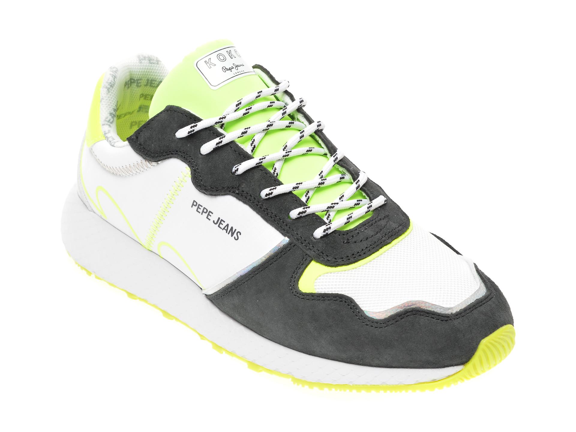 Pantofi sport PEPE JEANS albi, LS30997, din material textil si piele intoarsa