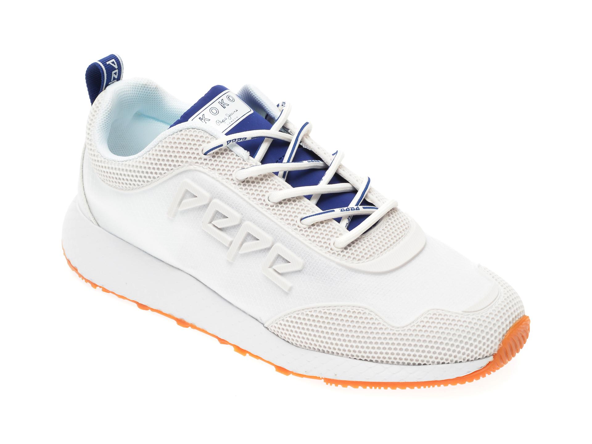 Pantofi sport PEPE JEANS albi, LS30998, din material textil si piele ecologica