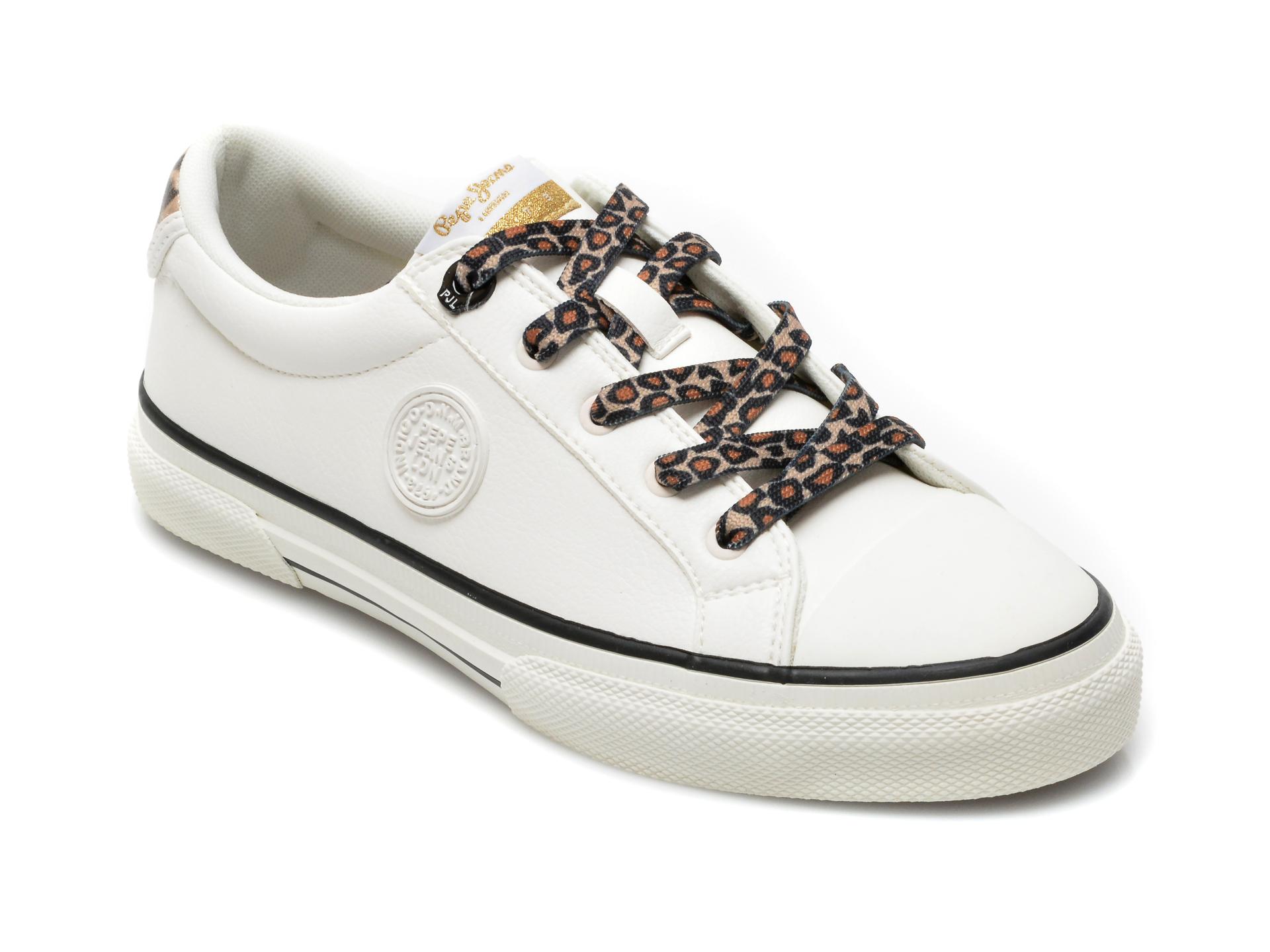 Pantofi sport PEPE JEANS albi, LS31234, din piele ecologica