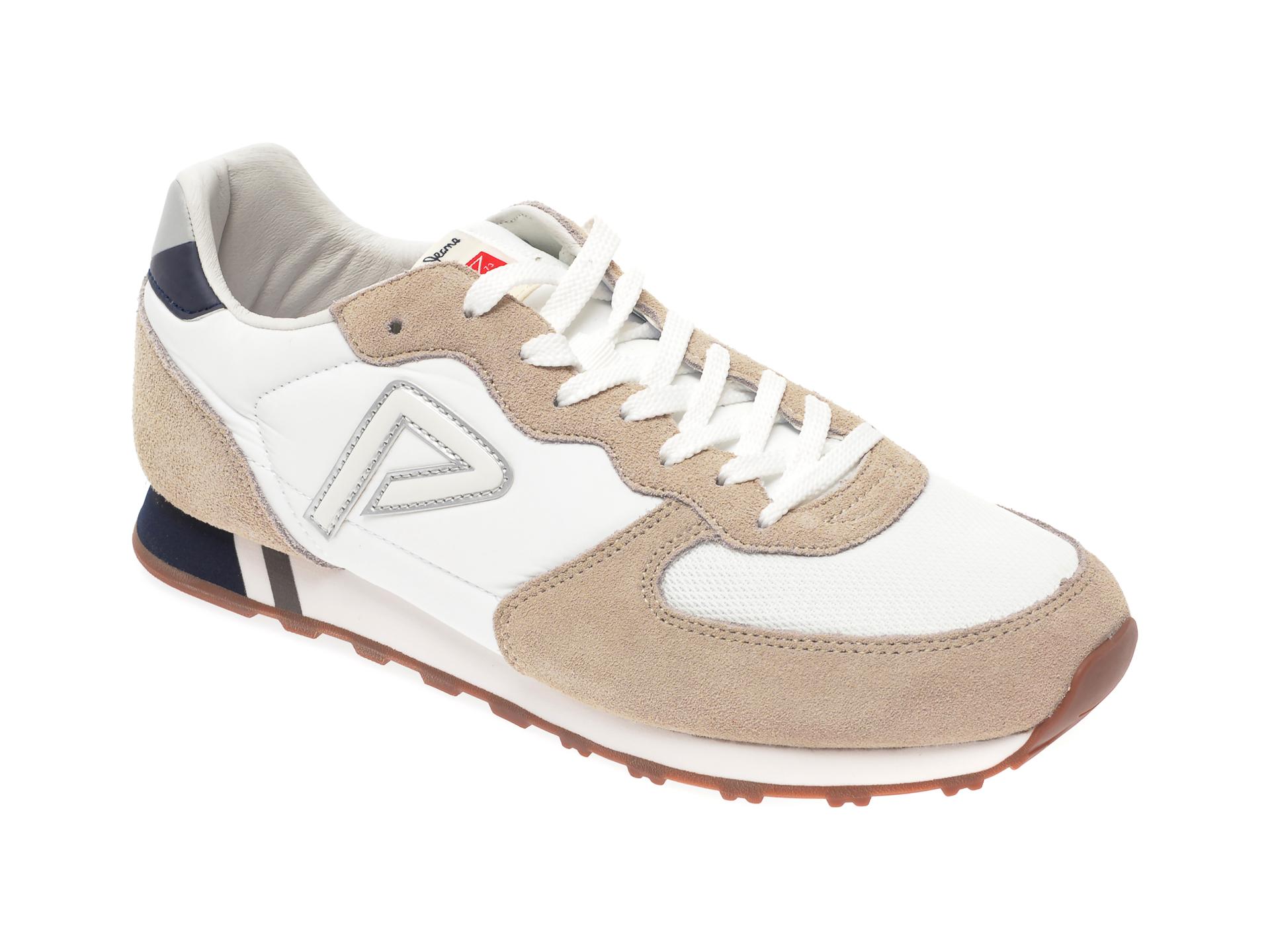 Pantofi sport PEPE JEANS albi, MS30610, din material textil si piele intoarsa imagine
