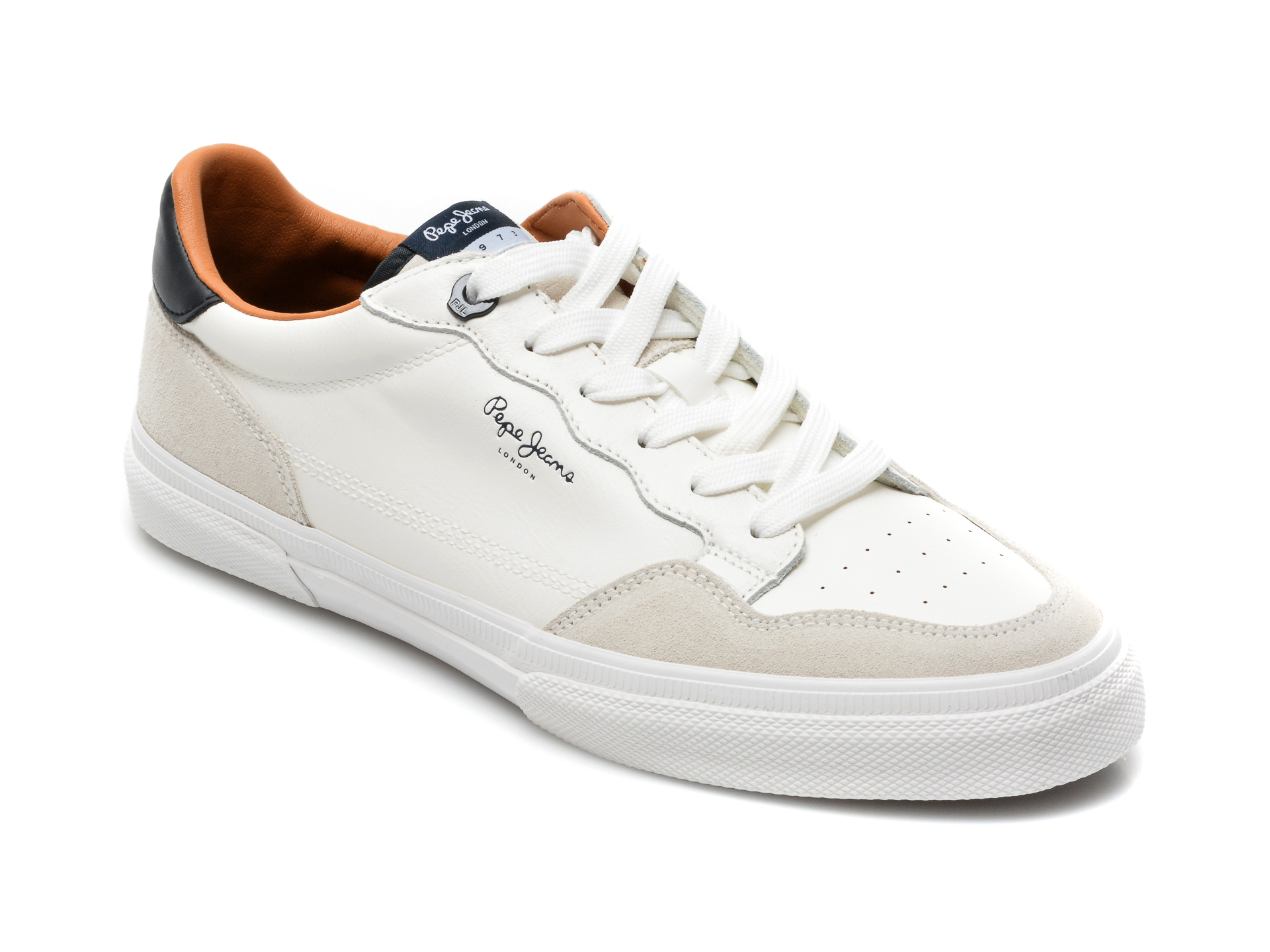 Pantofi sport PEPE JEANS albi, MS30765, din piele ecologica
