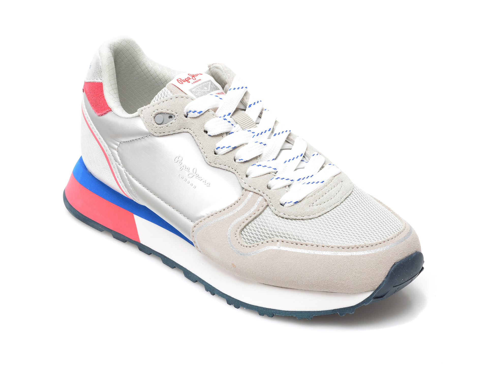 Pantofi sport PEPE JEANS argintii, 3116399, din material textil si piele naturala