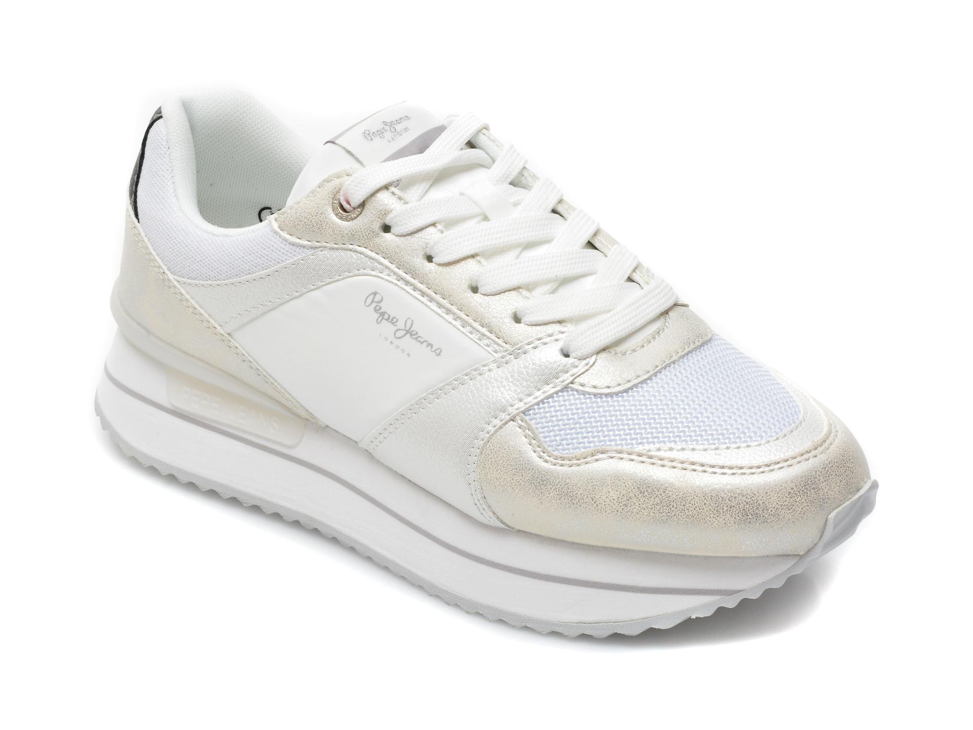 Pantofi Sport Pepe Jeans Argintii, 3118999, Din Material Textil Si Piele Naturala