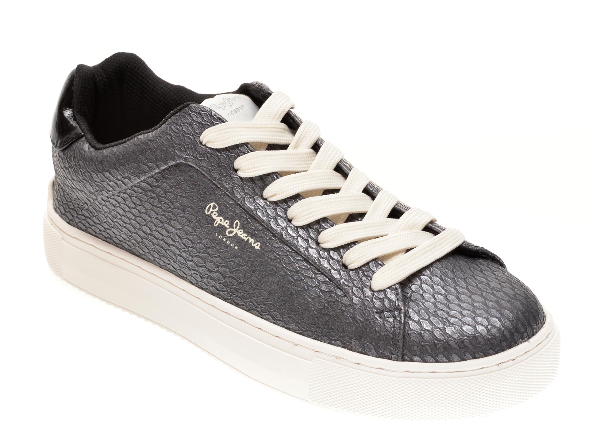 Pantofi sport PEPE JEANS argintii, LS31050, din piele ecologica