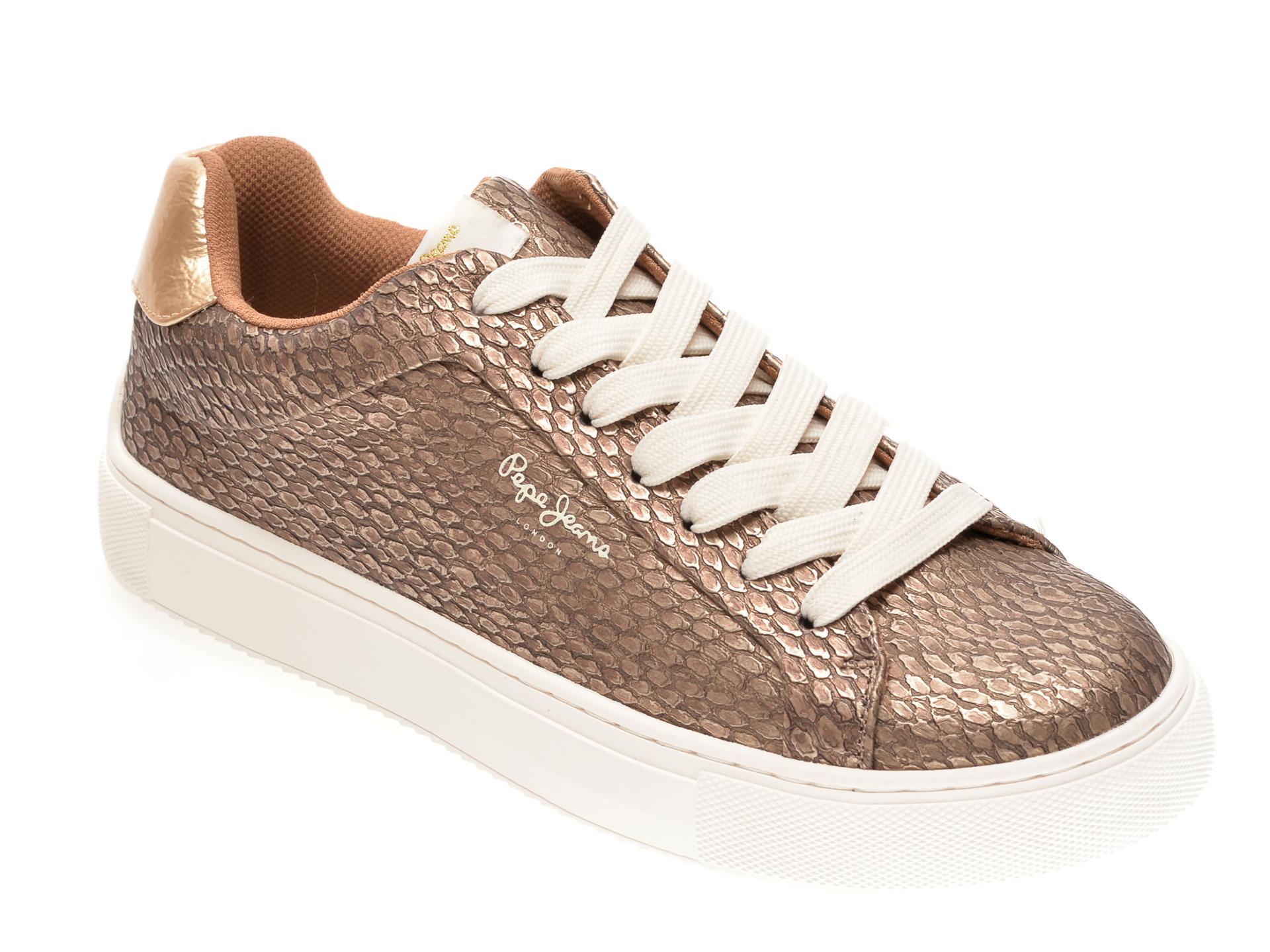 Pantofi sport PEPE JEANS aurii, LS31050, din piele ecologica