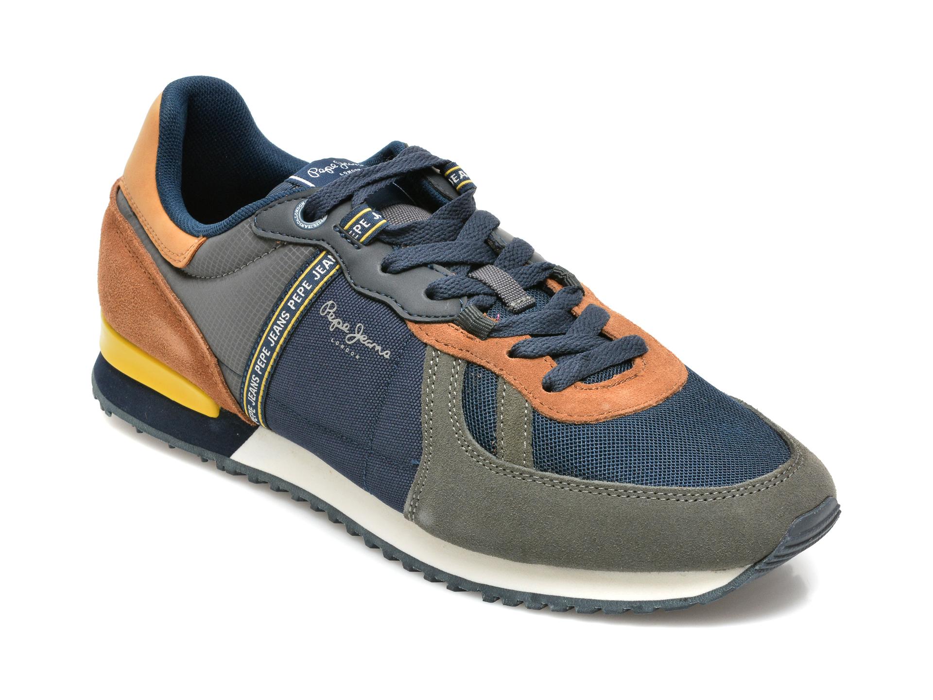 Pantofi sport PEPE JEANS bleumarin, MS30772, din material textil si piele naturala