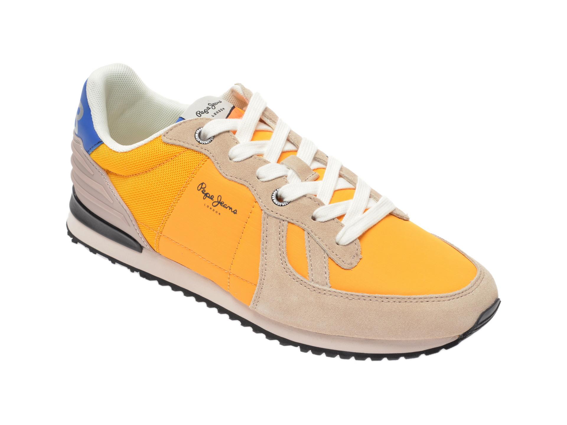 Pantofi sport PEPE JEANS galbeni, PMS30621, din material textil si piele intoarsa imagine