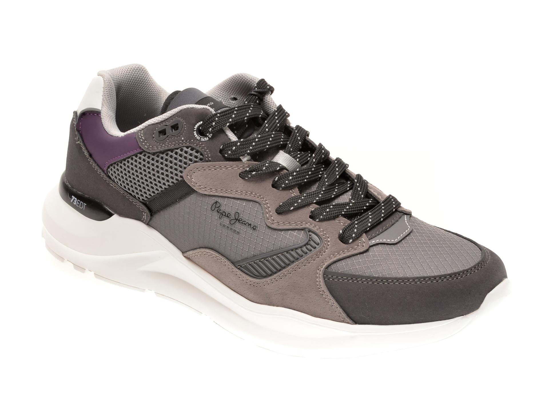 Pantofi sport PEPE JEANS gri, MS30666, din material textil si piele ecologica imagine