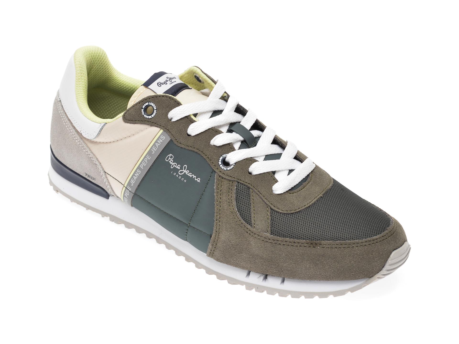 Pantofi sport PEPE JEANS kaki, MS30612, din material textil si piele intoarsa imagine
