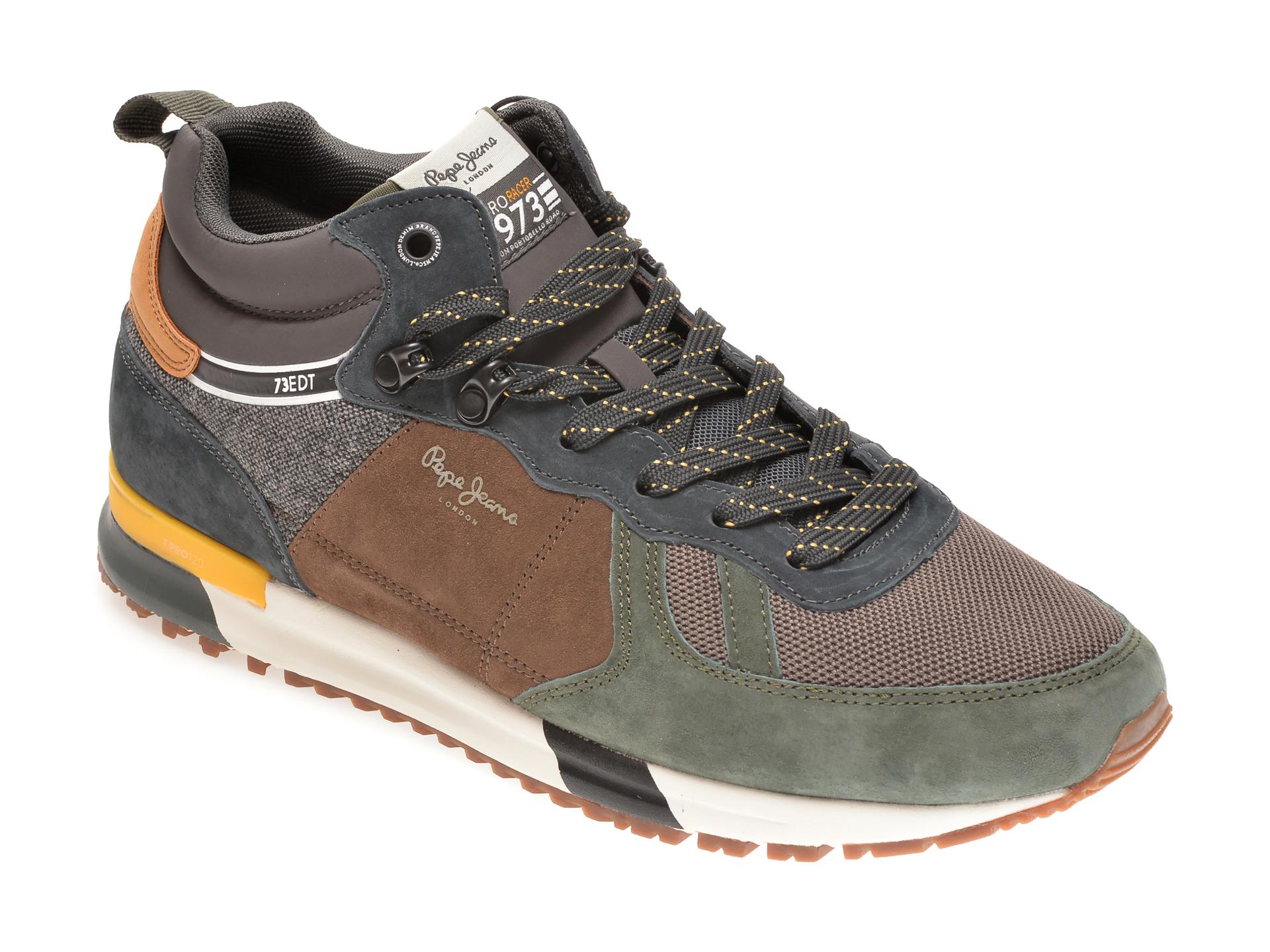 Pantofi sport PEPE JEANS kaki, MS30663, din material textil si piele intoarsa imagine