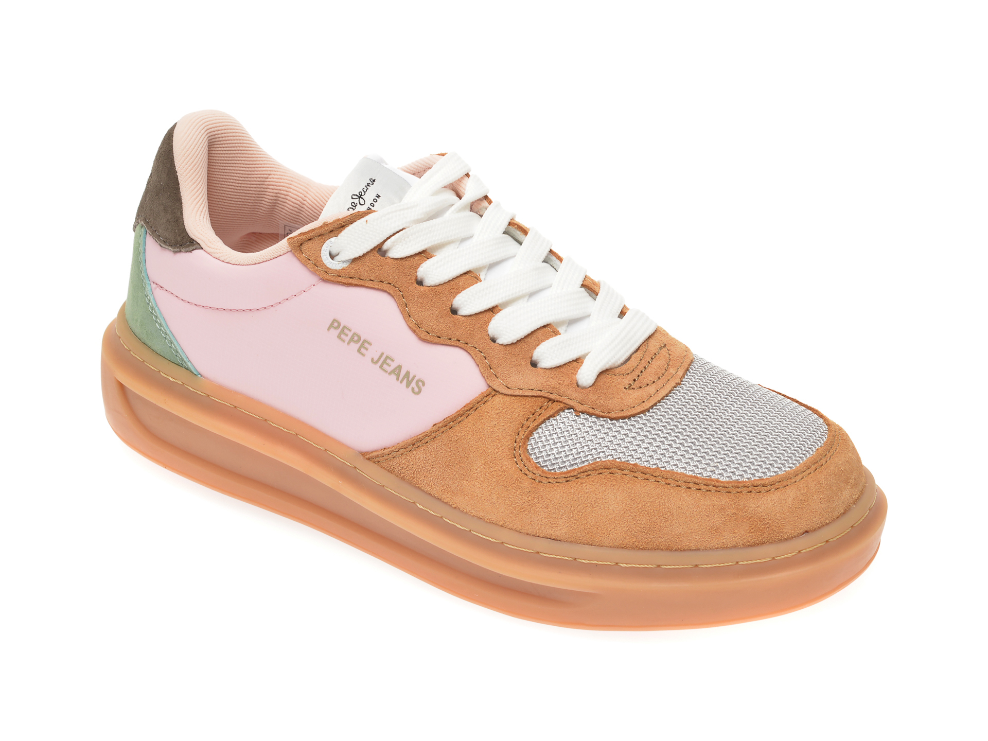 Pantofi sport PEPE JEANS maro LS30962, din material textil si piele intoarsa