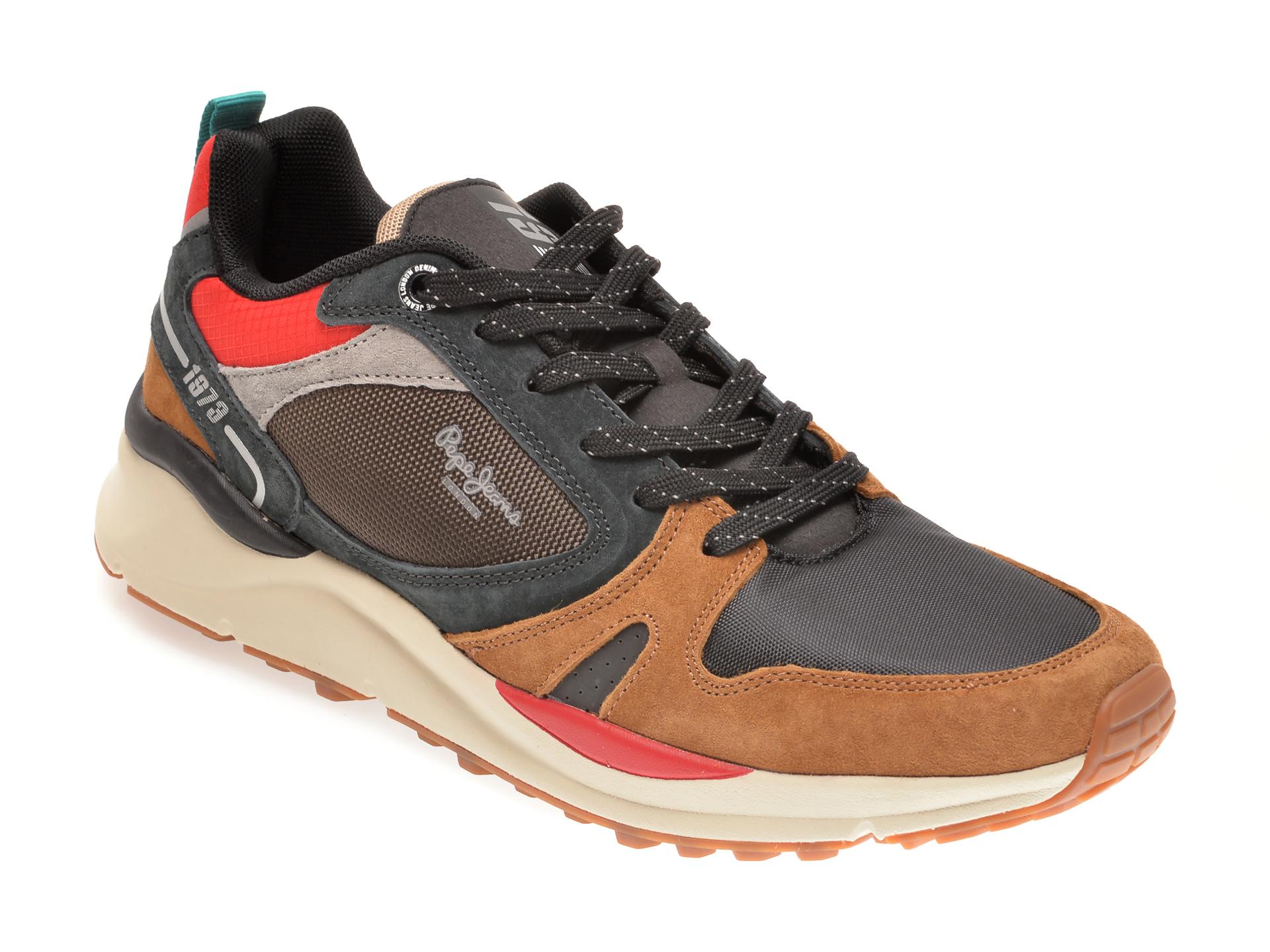 Pantofi sport PEPE JEANS maro, MS30678, din material textil si piele intoarsa New