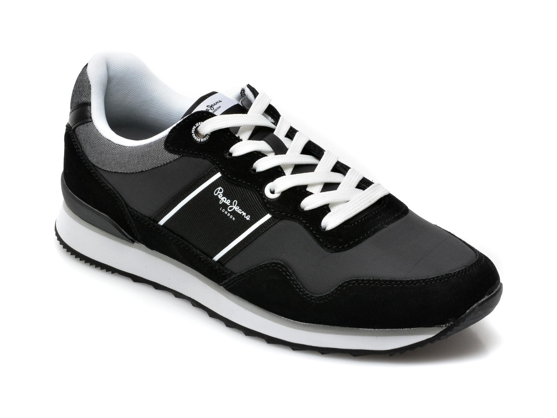 Pantofi sport PEPE JEANS negri, 3070299, din material textil si piele intoarsa imagine otter.ro