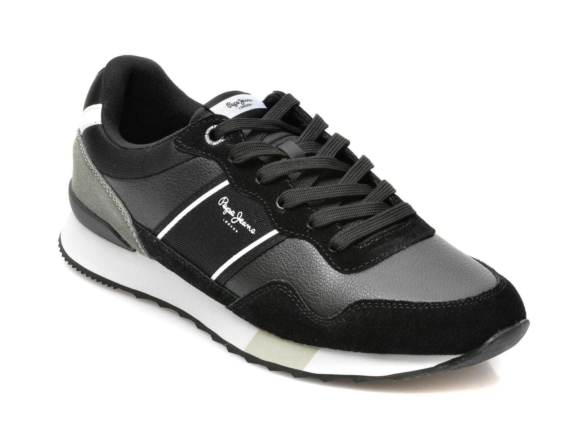 Pantofi sport PEPE JEANS negri, MS30757, din piele ecologica