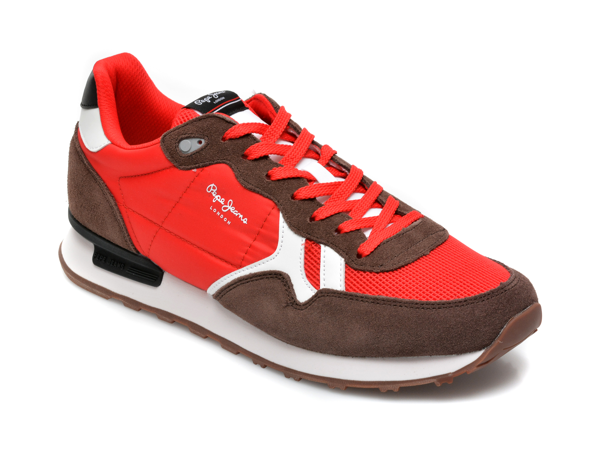 Pantofi sport PEPE JEANS rosii, 3072199, din material textil si piele naturala imagine