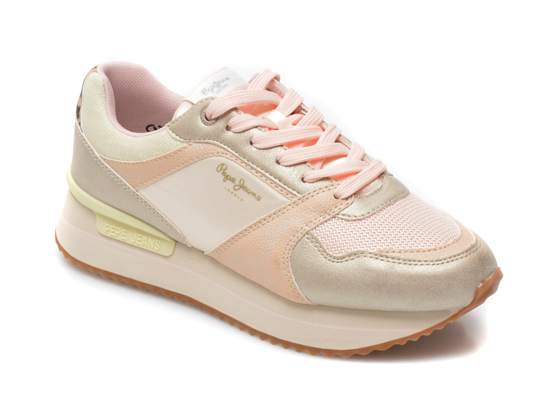 Pantofi sport PEPE JEANS roz, 3118999, din material textil si piele naturala imagine otter.ro