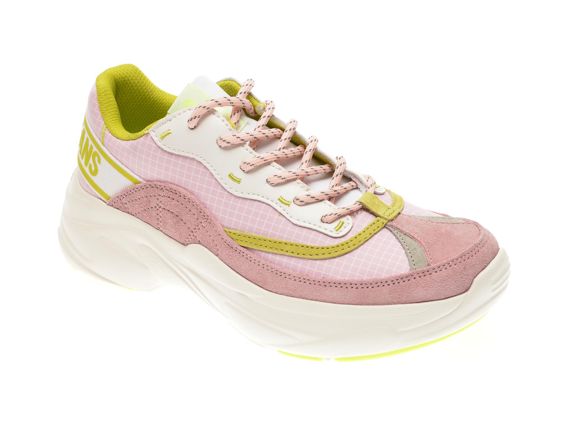 Pantofi sport PEPE JEANS roz, LS30988, din material textil si piele naturala