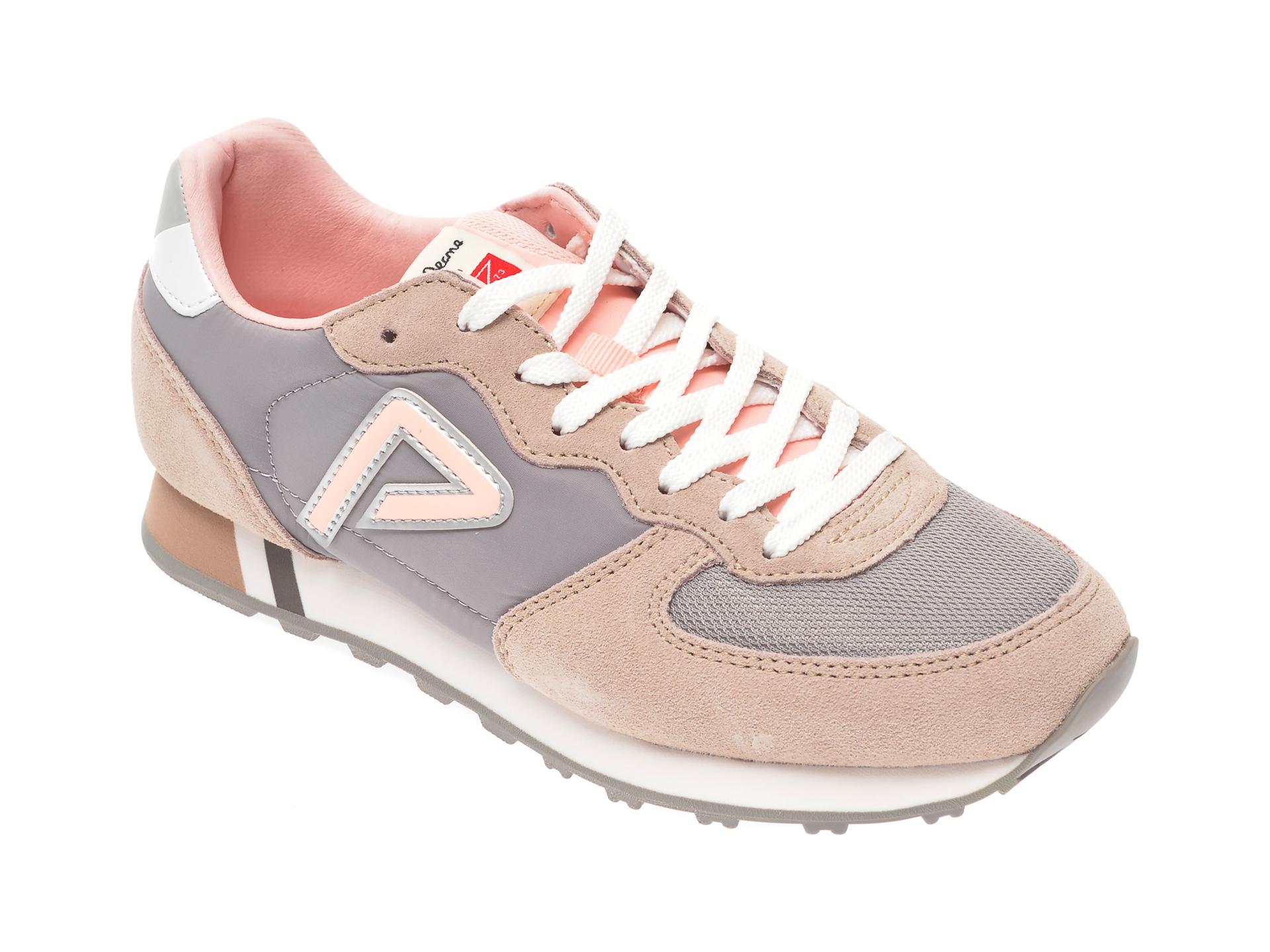 Pantofi sport PEPE JEANS roz, LS31004, din material textil si piele intoarsa