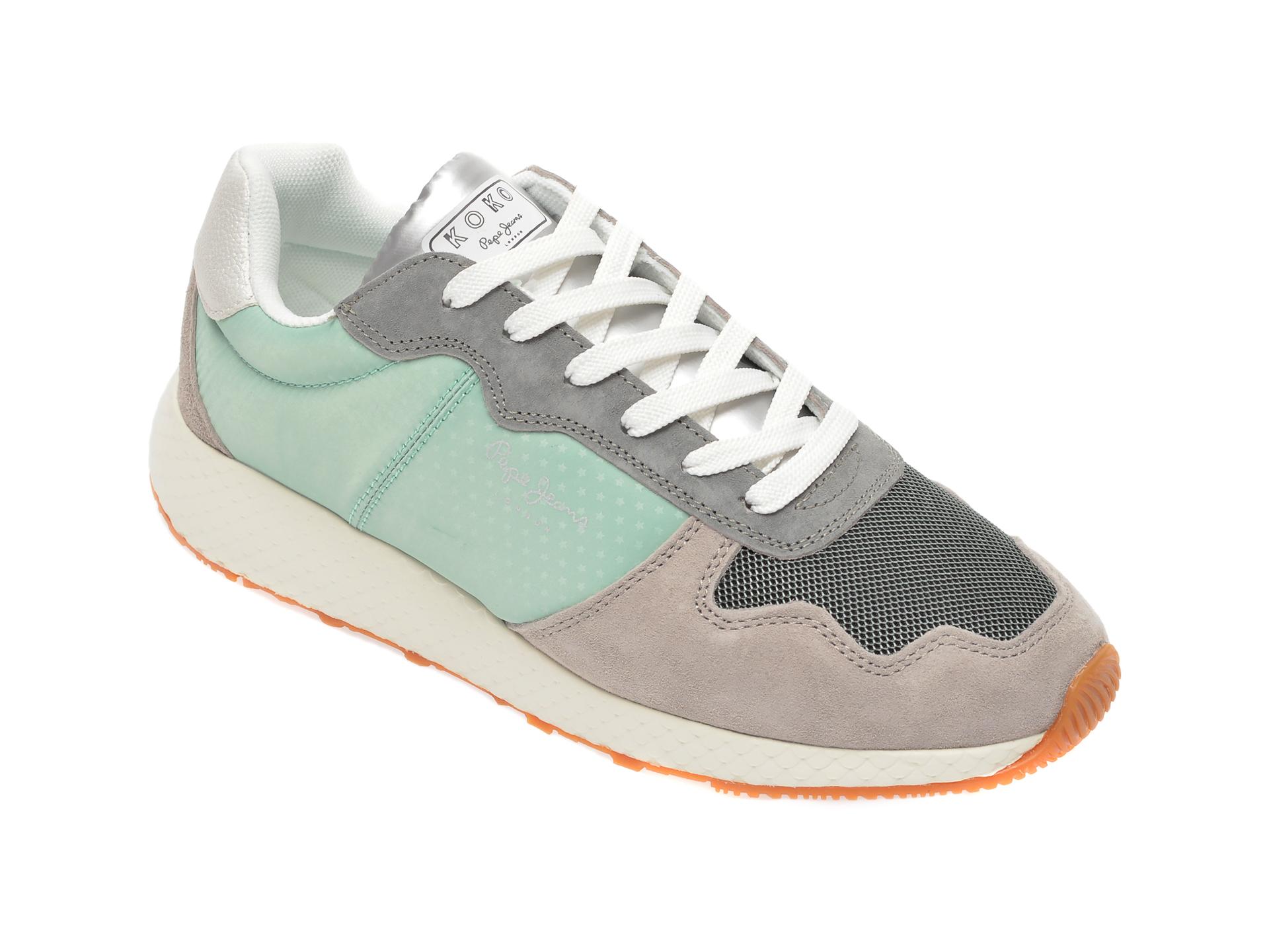 Pantofi sport PEPE JEANS verzi, LS30996, din material textil si piele naturala