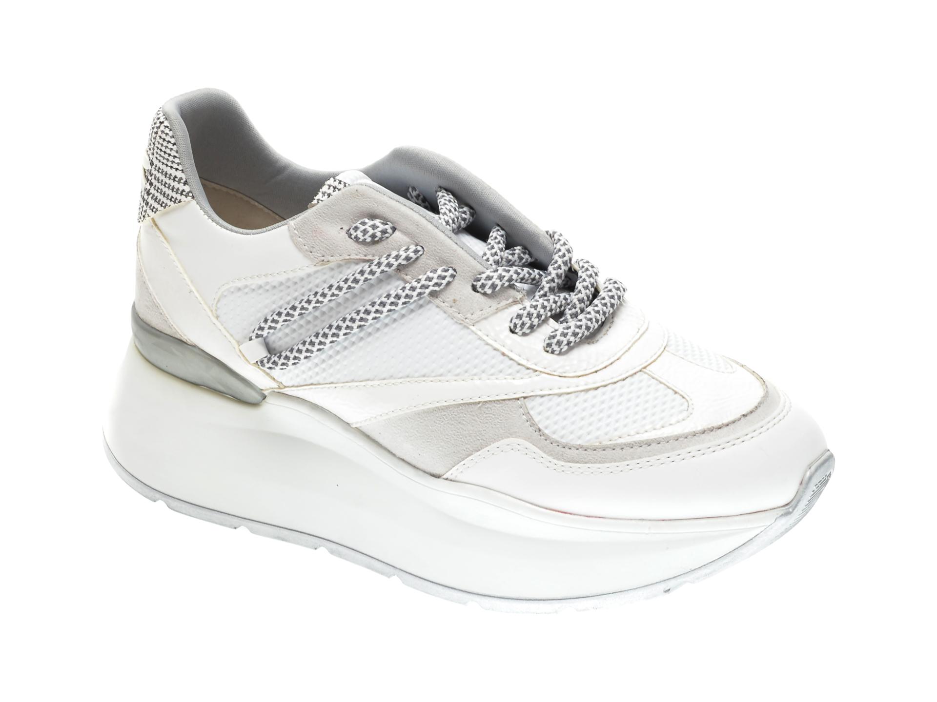 Pantofi sport RADIKAL albi, 2794, din piele ecologica si material textil imagine