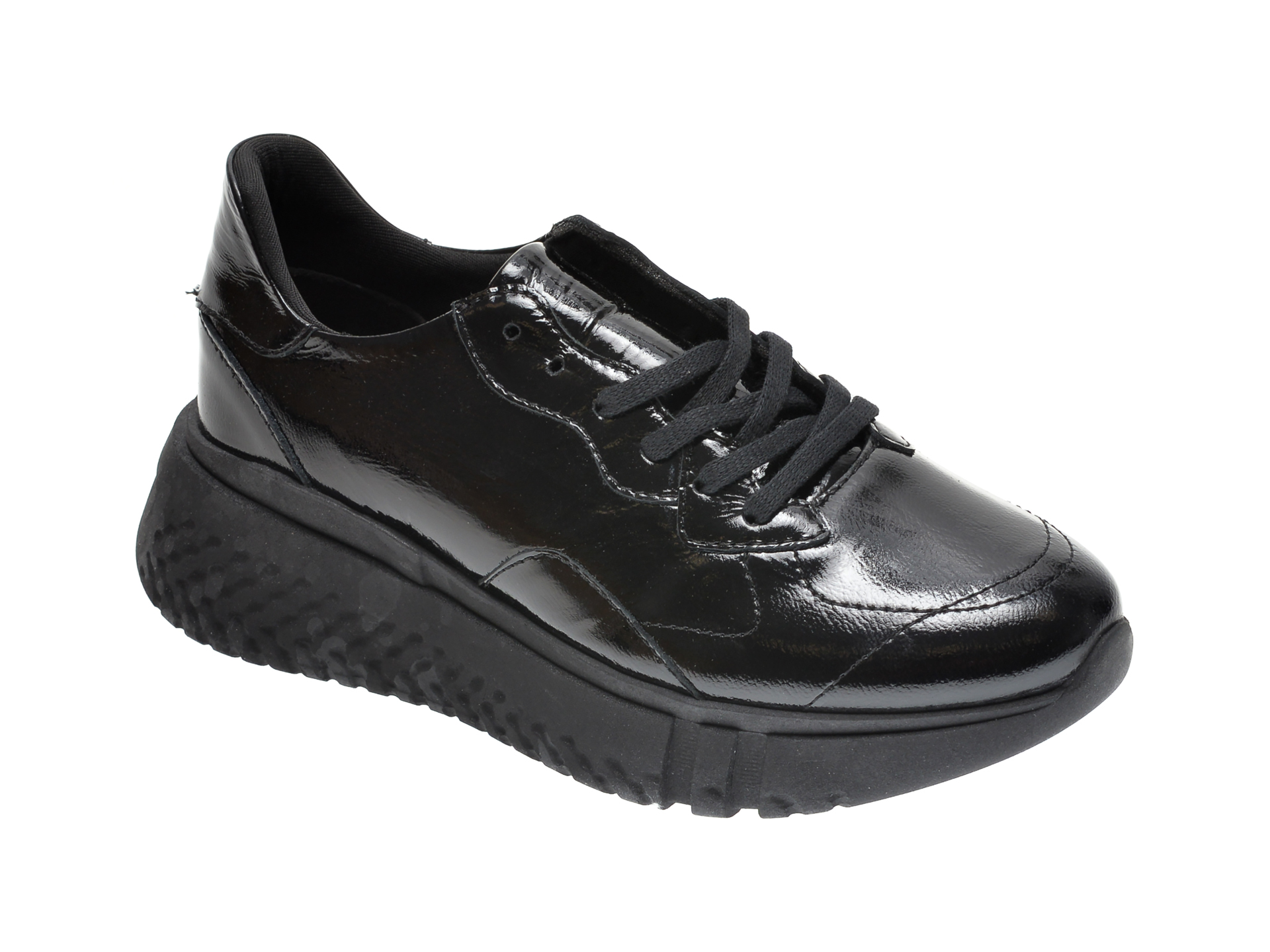 Pantofi sport RADIKAL negri, 2766, din piele naturala lacuita imagine