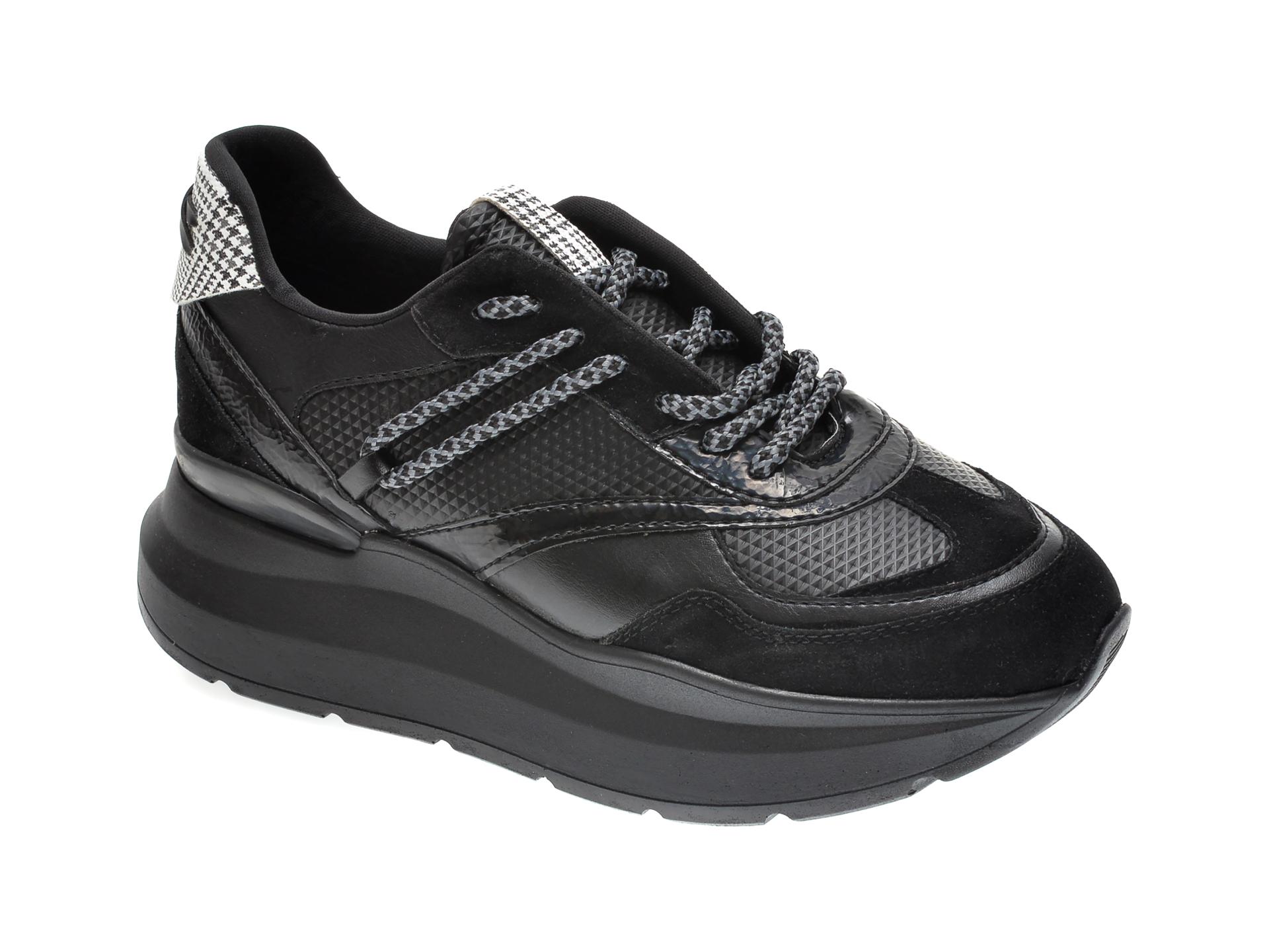 Pantofi sport RADIKAL negri, 2794, din piele ecologica si material textil imagine
